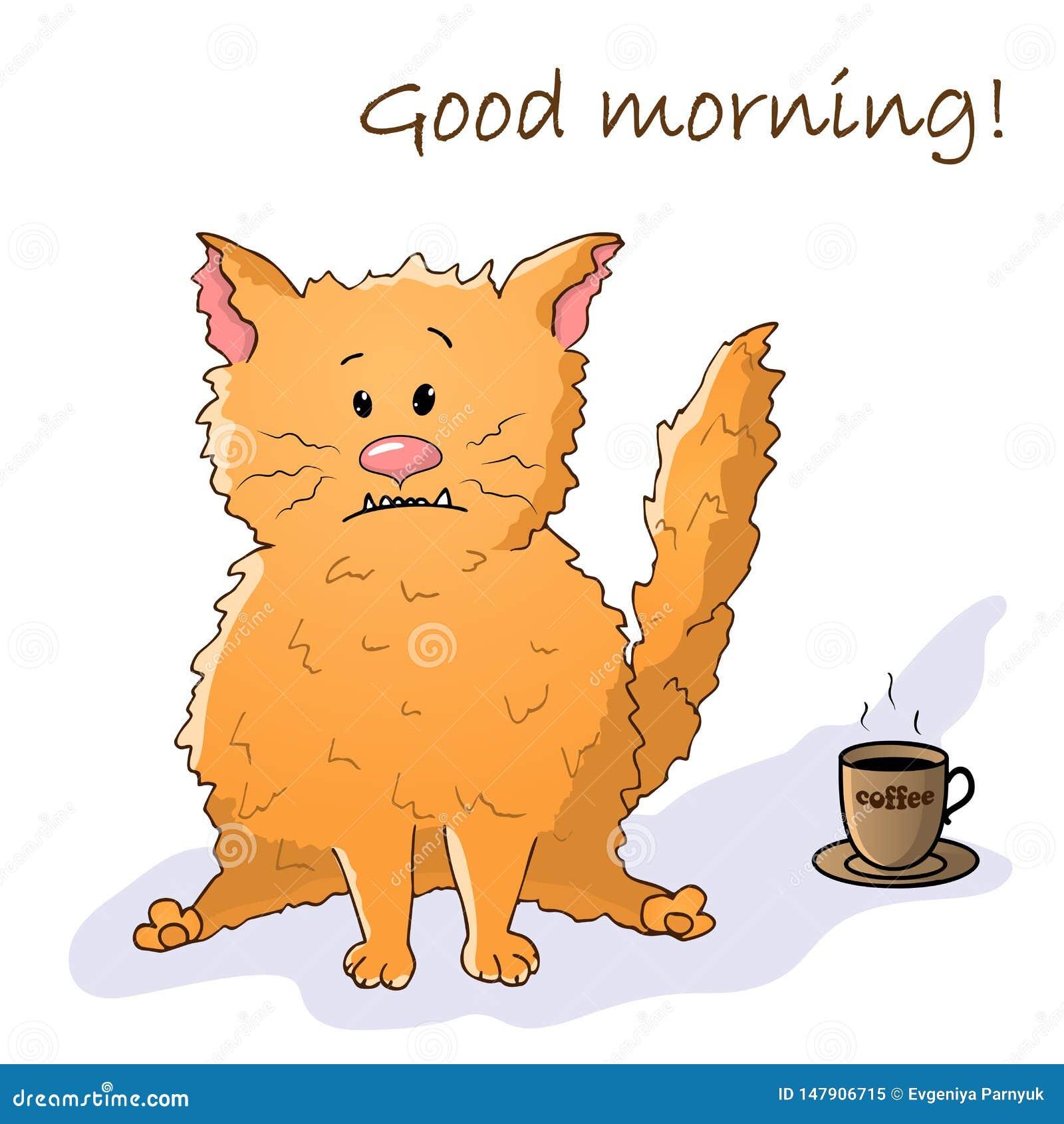 Animale divertente di vettore Gatto pazzo sveglio Cartolina con la frase: Buongiorno Gatto con una tazza di caff? oggetto isolato