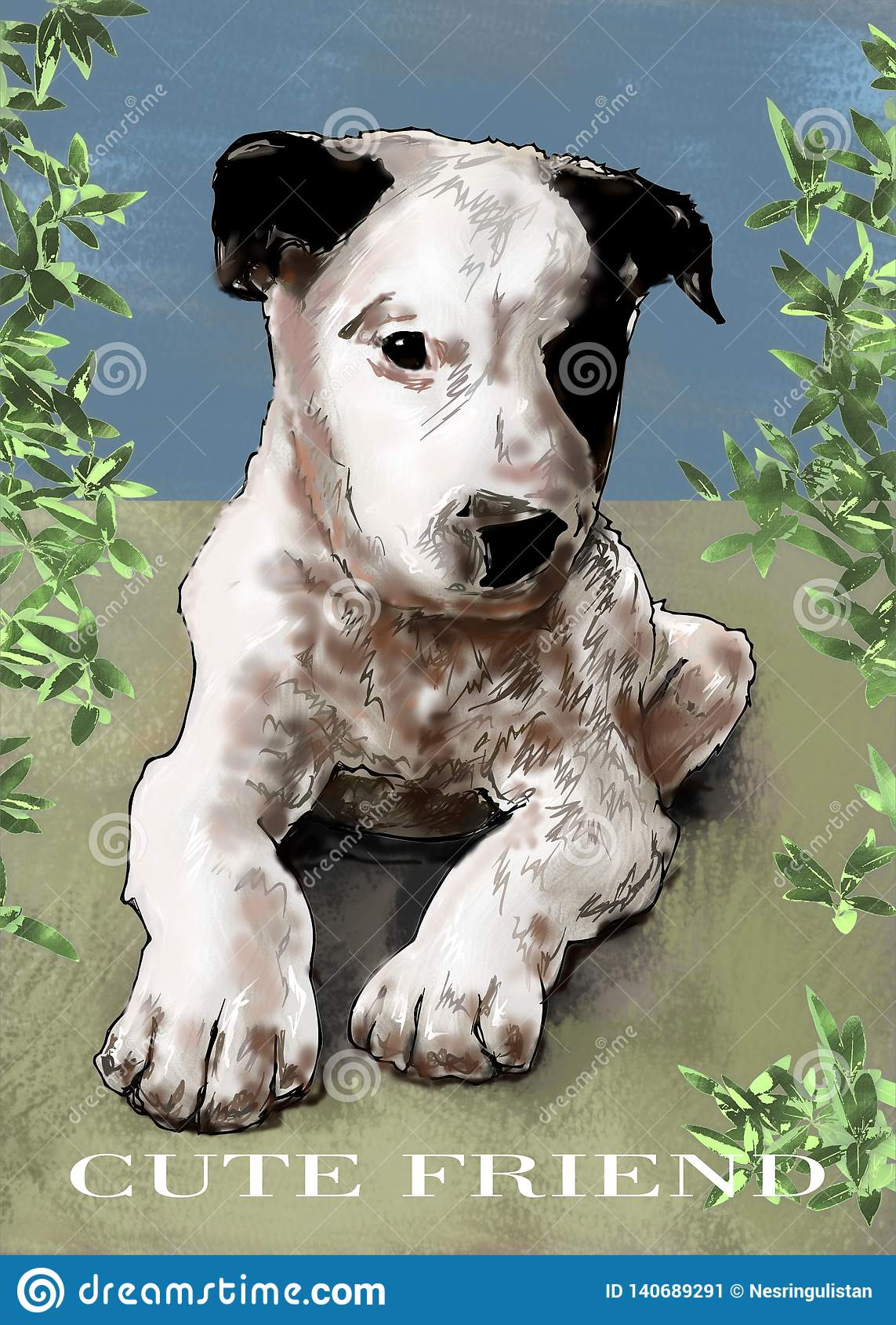 Animale sveglio dell amico del cucciolo sveglio del cucciolo, mondo animale, animale domestico, illustrazione, paiting, disegno