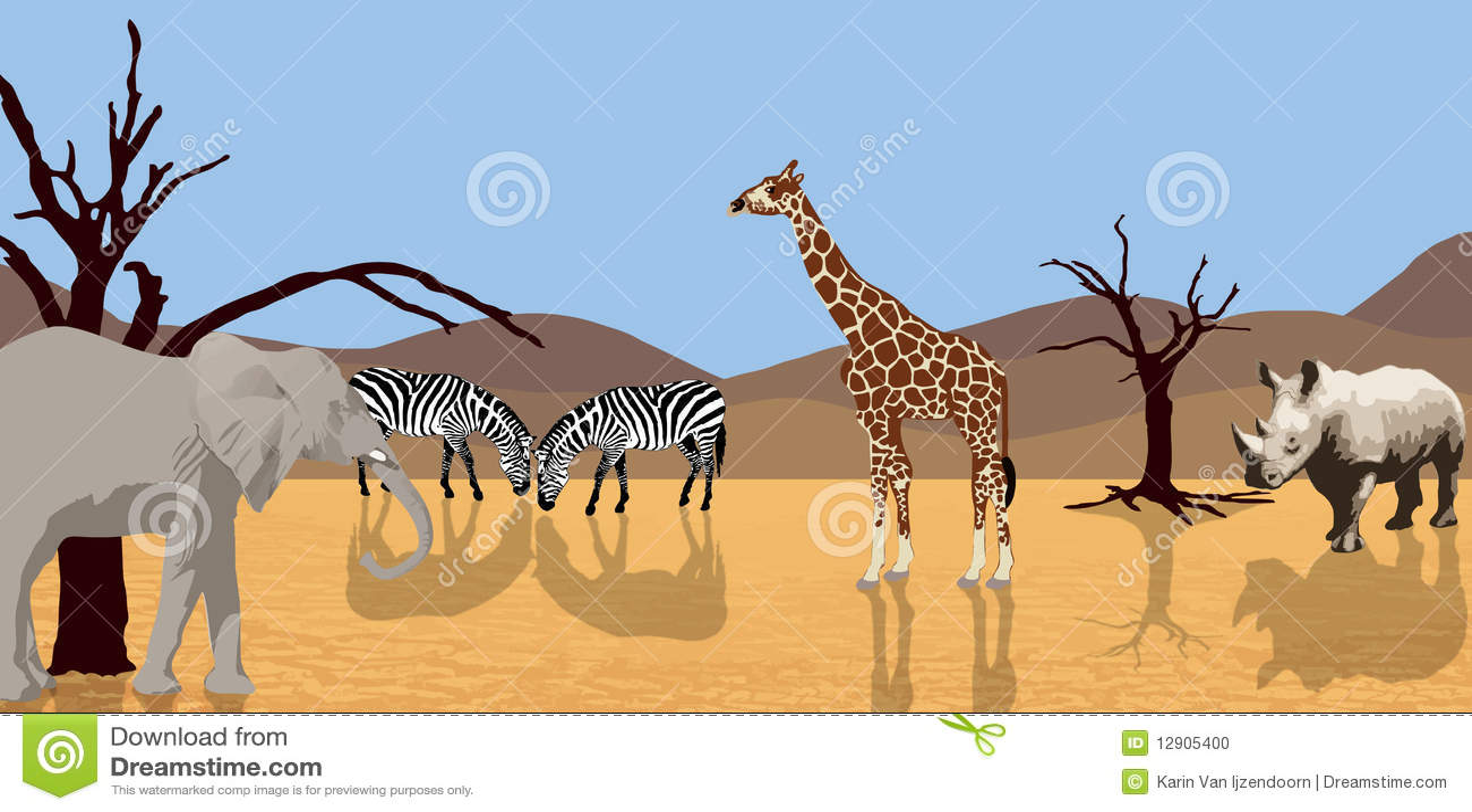 Animales africanos en desierto