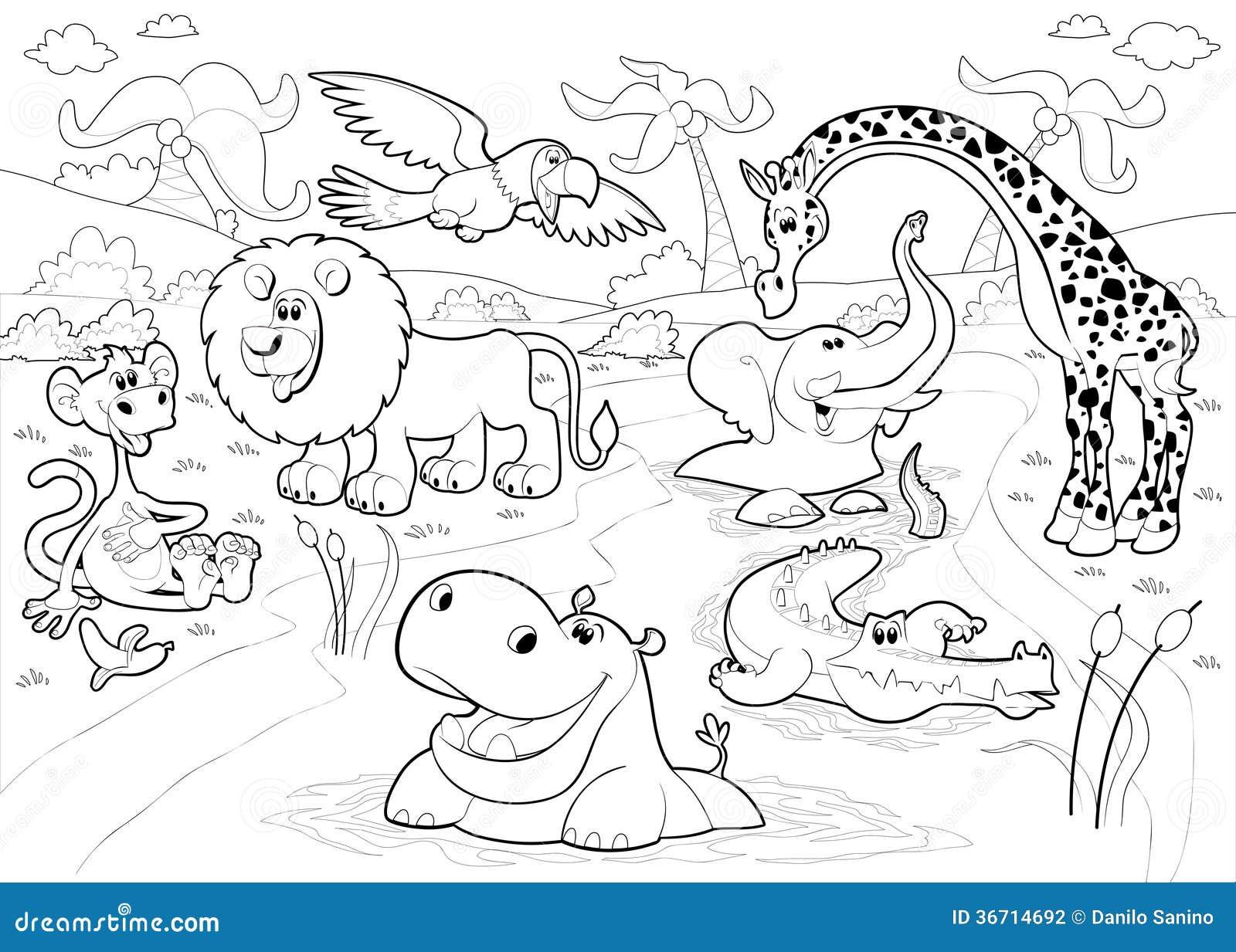 Animales Africanos En La Selva En Blanco Y Negro. Ilustración del ...