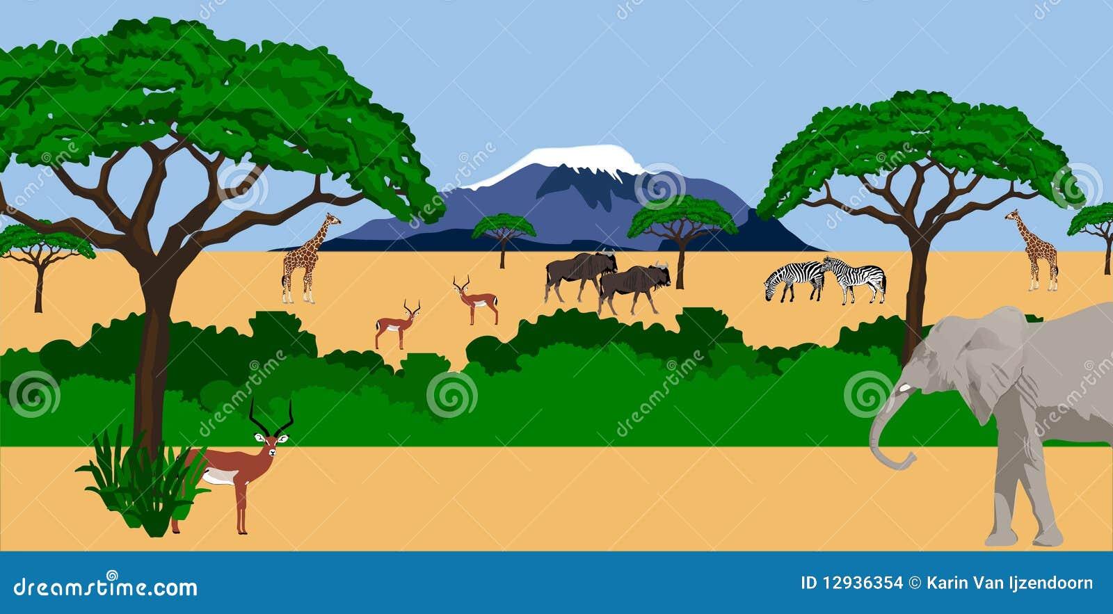 Animales africanos en paisaje africano