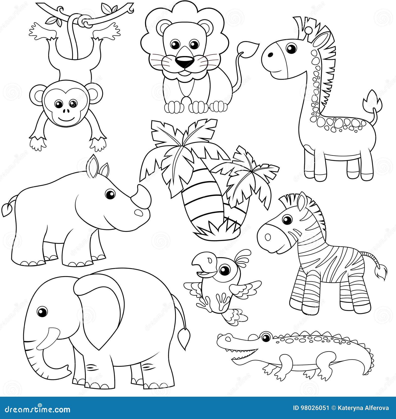 Animales De La Selva León Elefante Jirafa Mono Loro Cocodrilo
