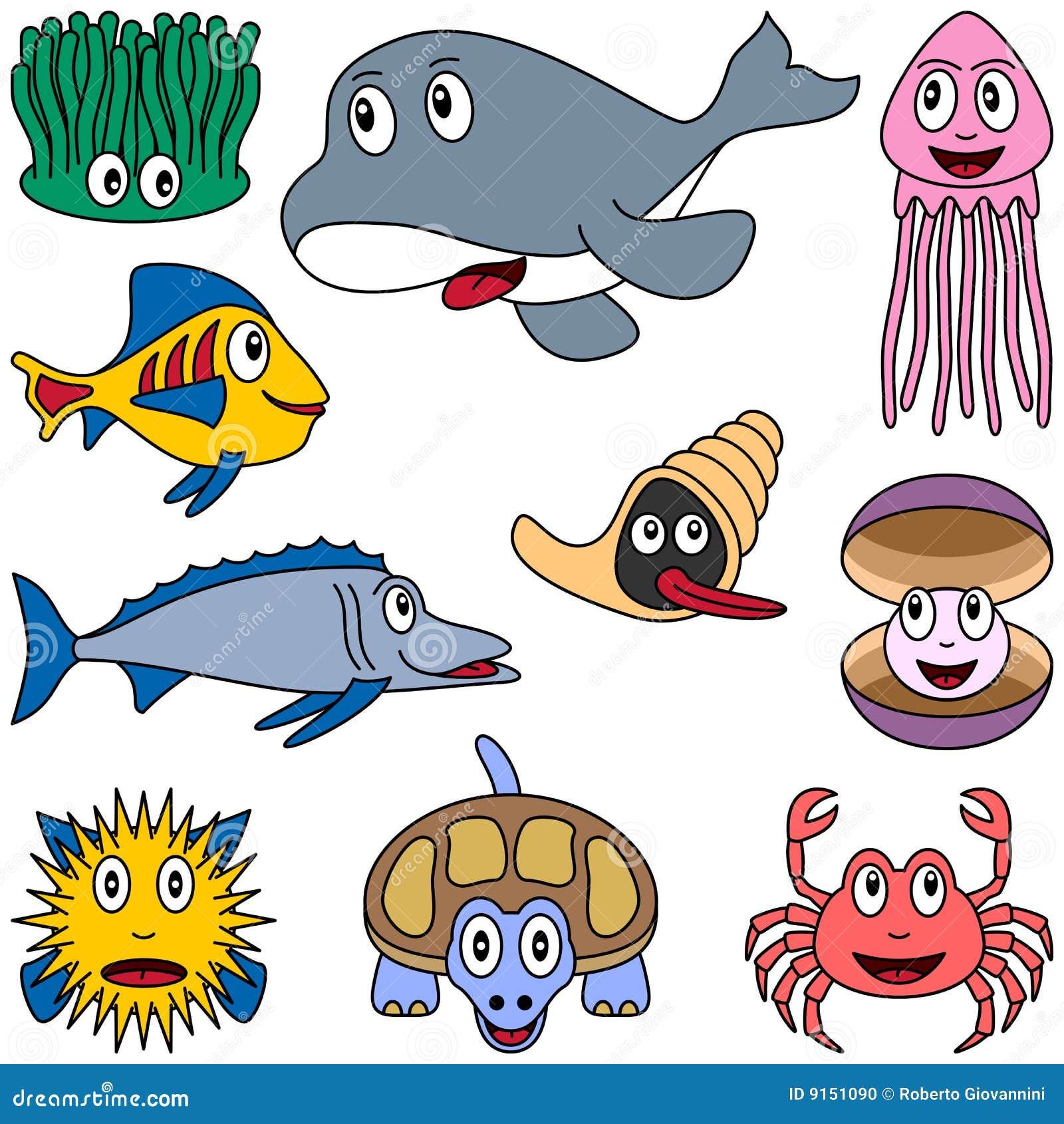 Animales de marina de la historieta fijados 2 foto de - Clip art animali marini ...