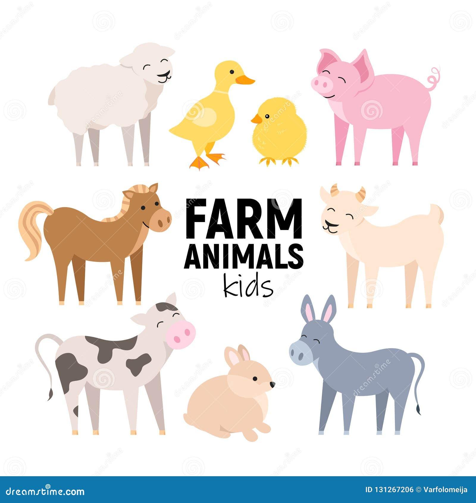 Animales del campo lindos vaca, cerdo, cordero, burro, conejito, polluelo, caballo, cabra, pato aislado Los animales domésticos e