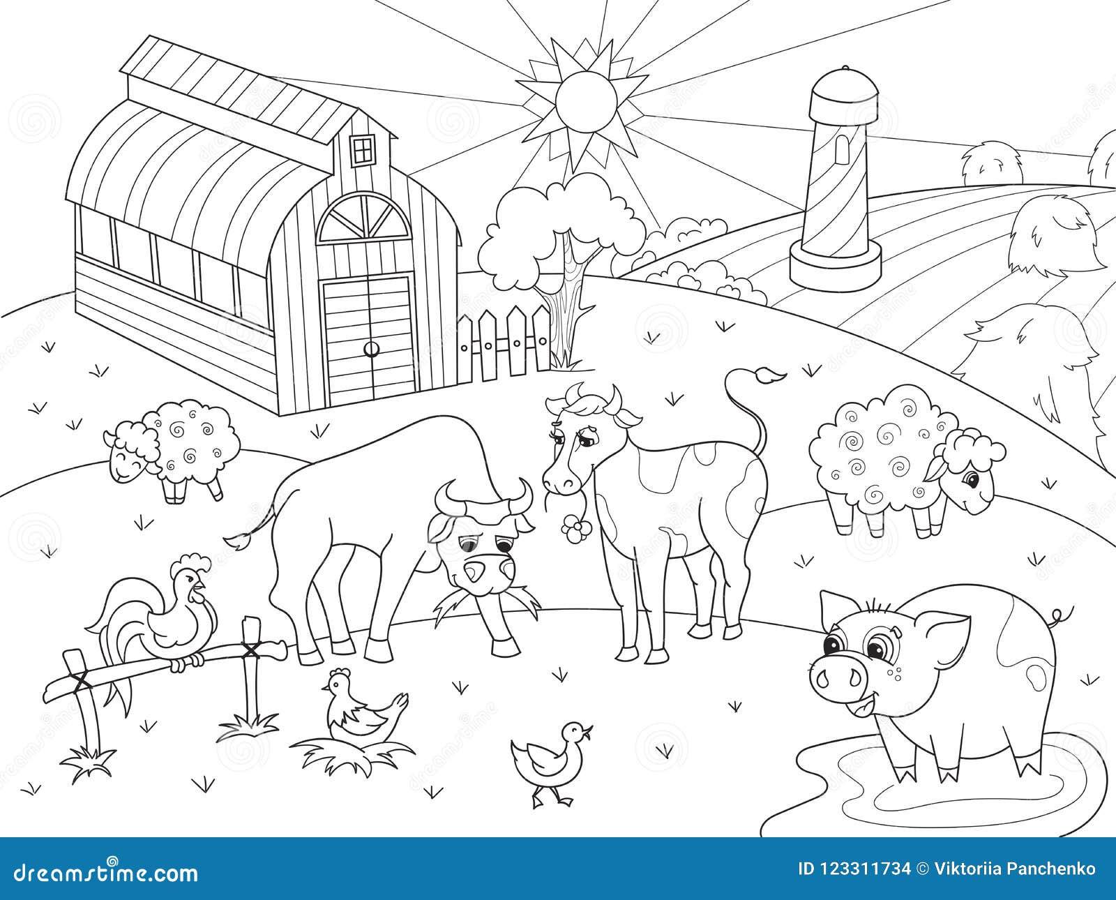 Animales Del Campo Y Trama Rural Del Colorante Del Paisaje
