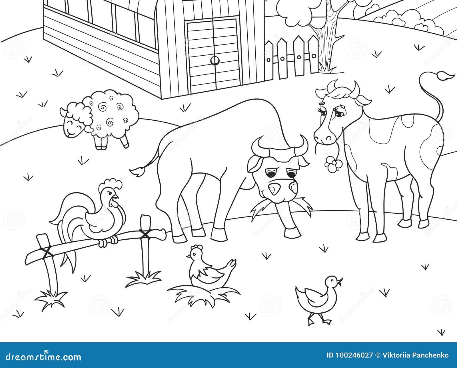 Animales Del Campo Y Vector Rural Del Colorante Del Paisaje