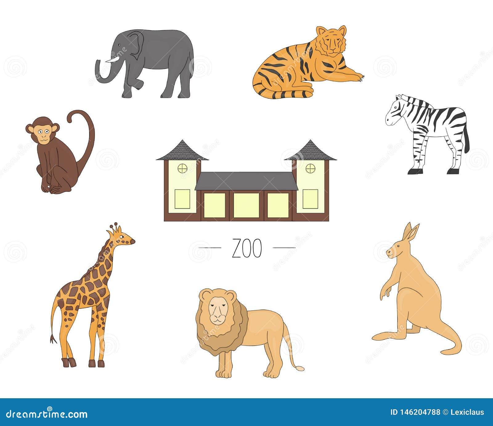 Animales del parque zoológico del ejemplo del vector aislados en el fondo blanco