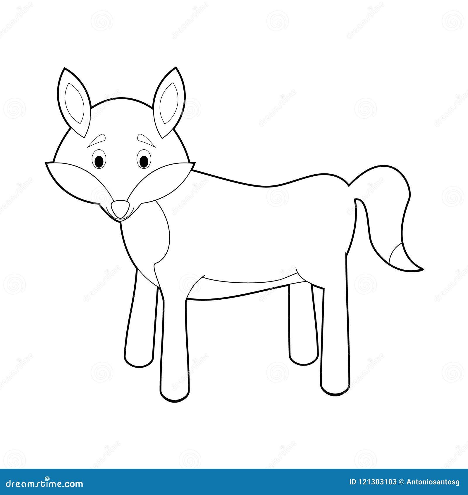 Animales Fáciles Del Colorante Para Los Niños Lobo Ilustración Del