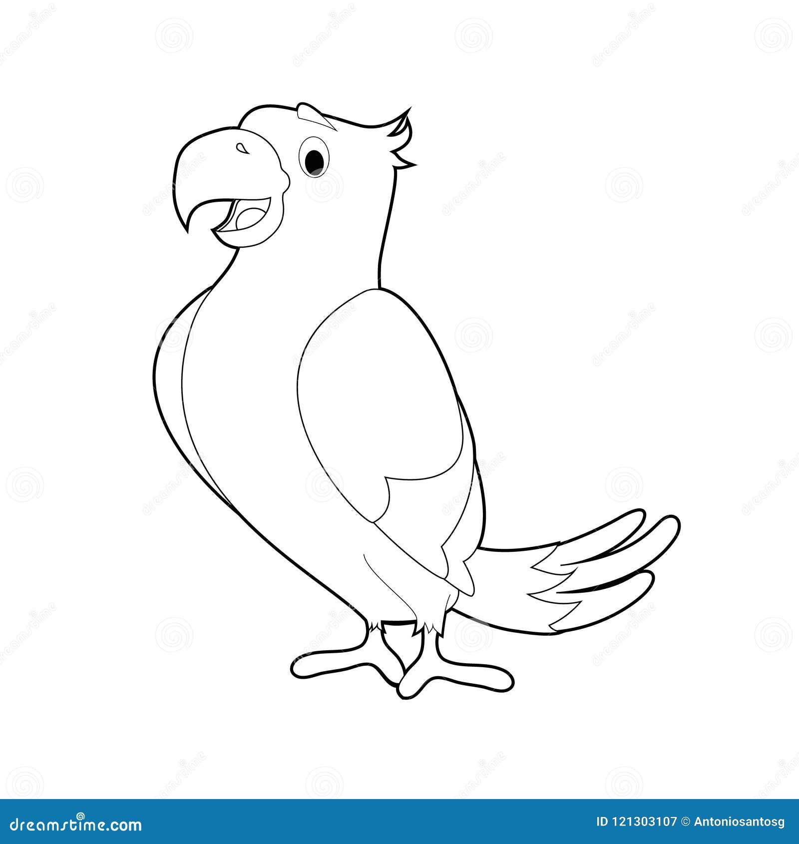 Animales Fáciles Del Colorante Para Los Niños Loro Ilustración Del