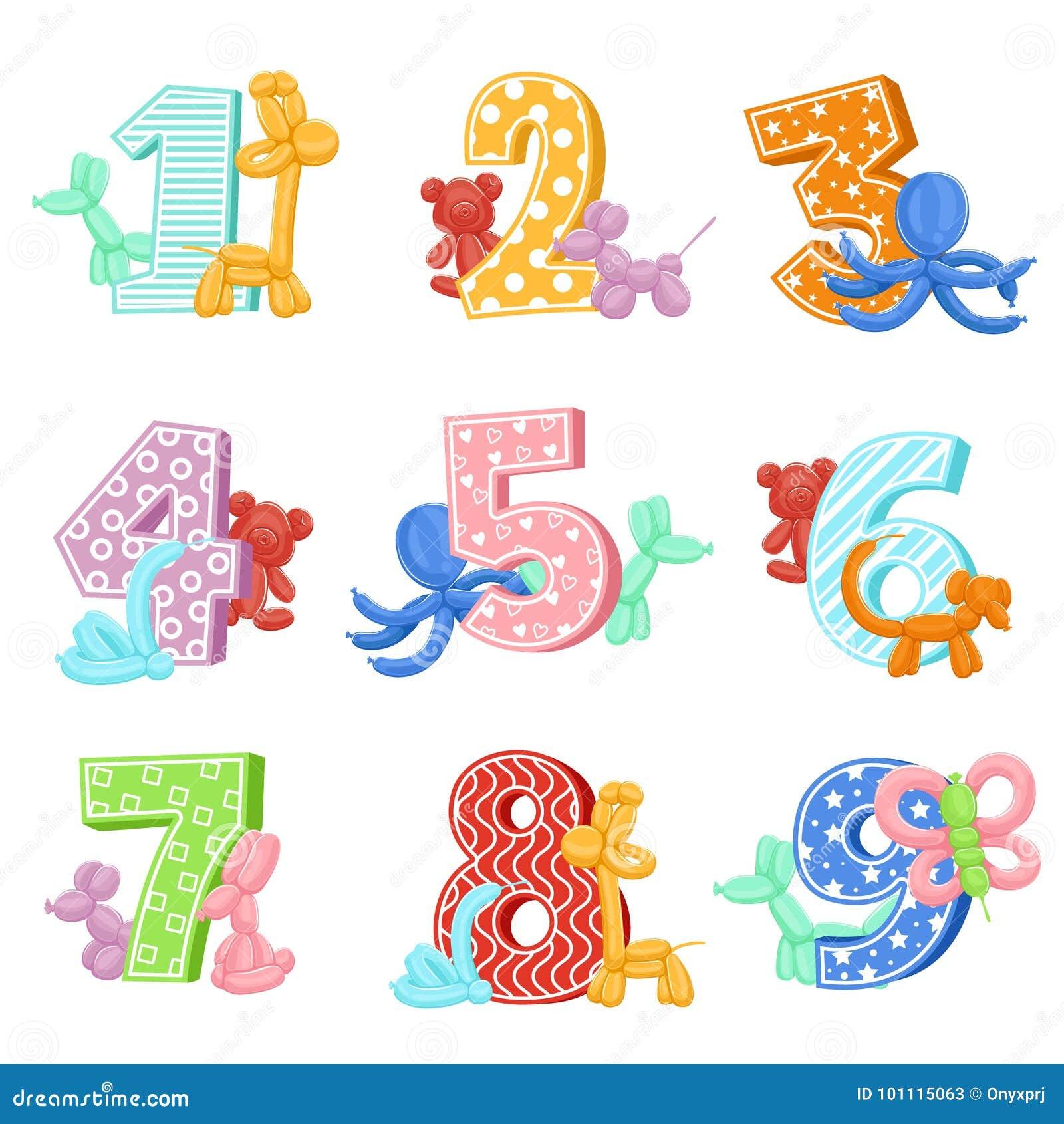 Animales Inflables Con Números Del Cumpleaños Graphhics Del Vector ...