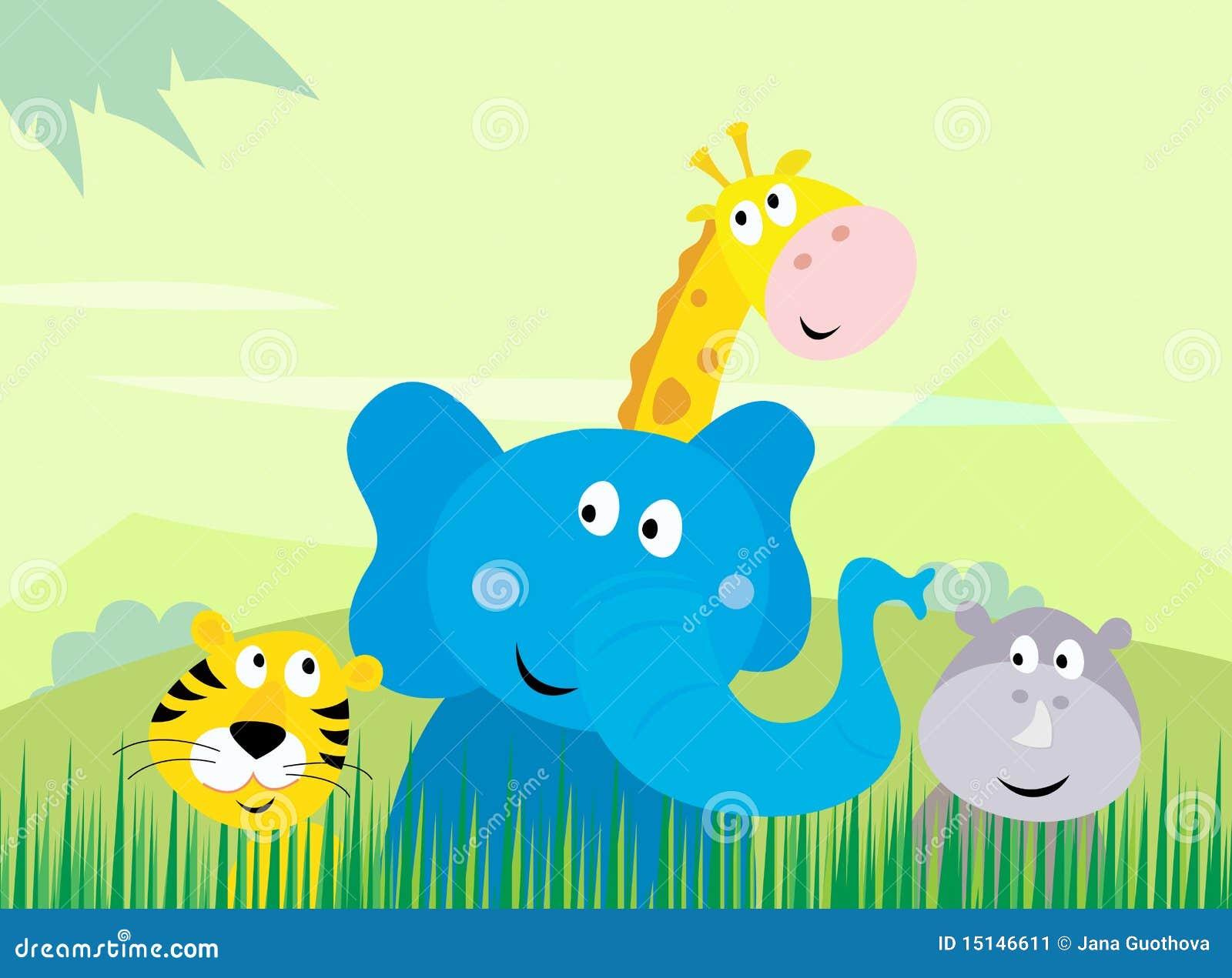 Animales lindos de la selva del safari - tigre, elefante, Gira