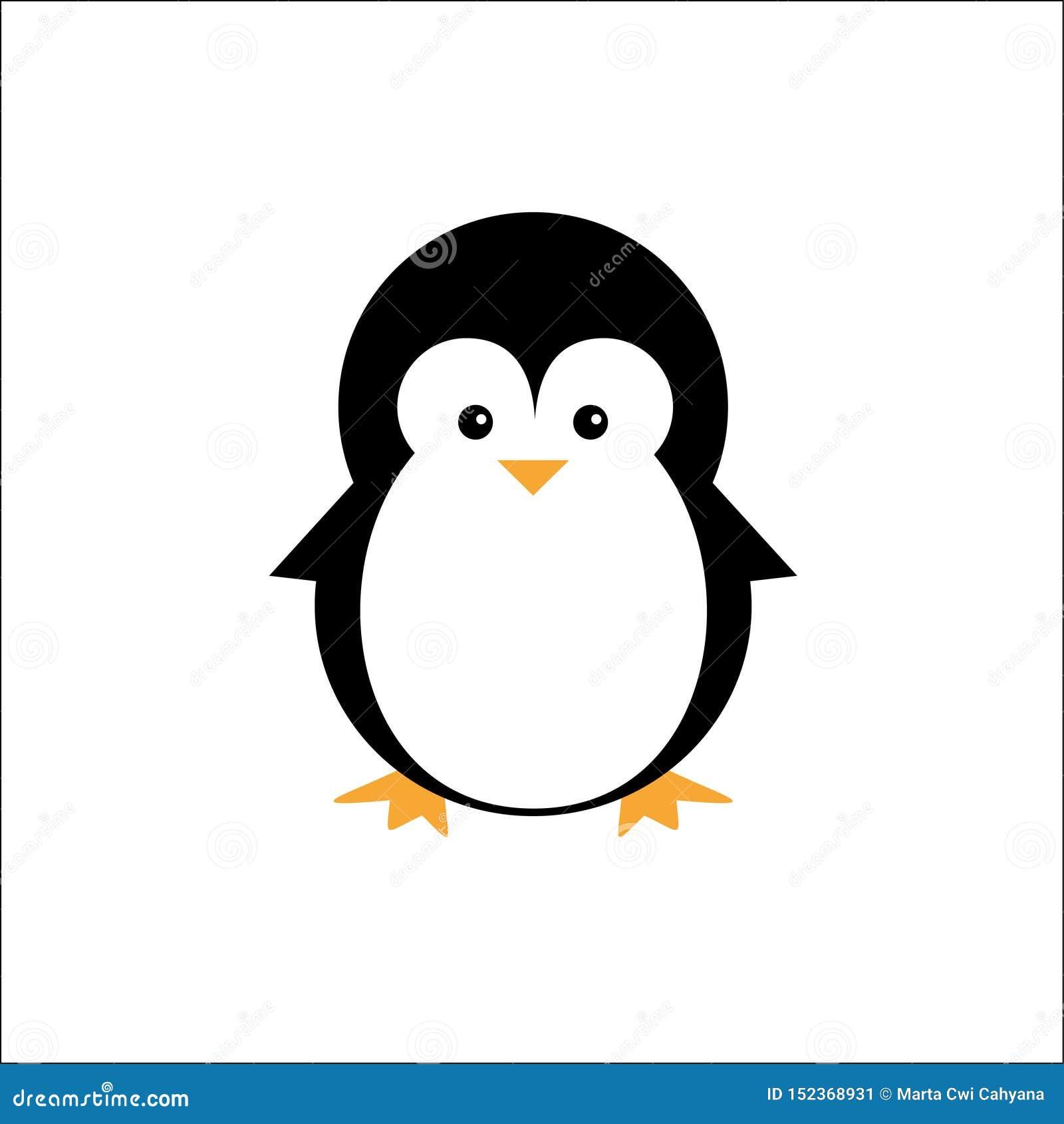 Animales lindos del logotipo del icono del pingüino del ejemplo