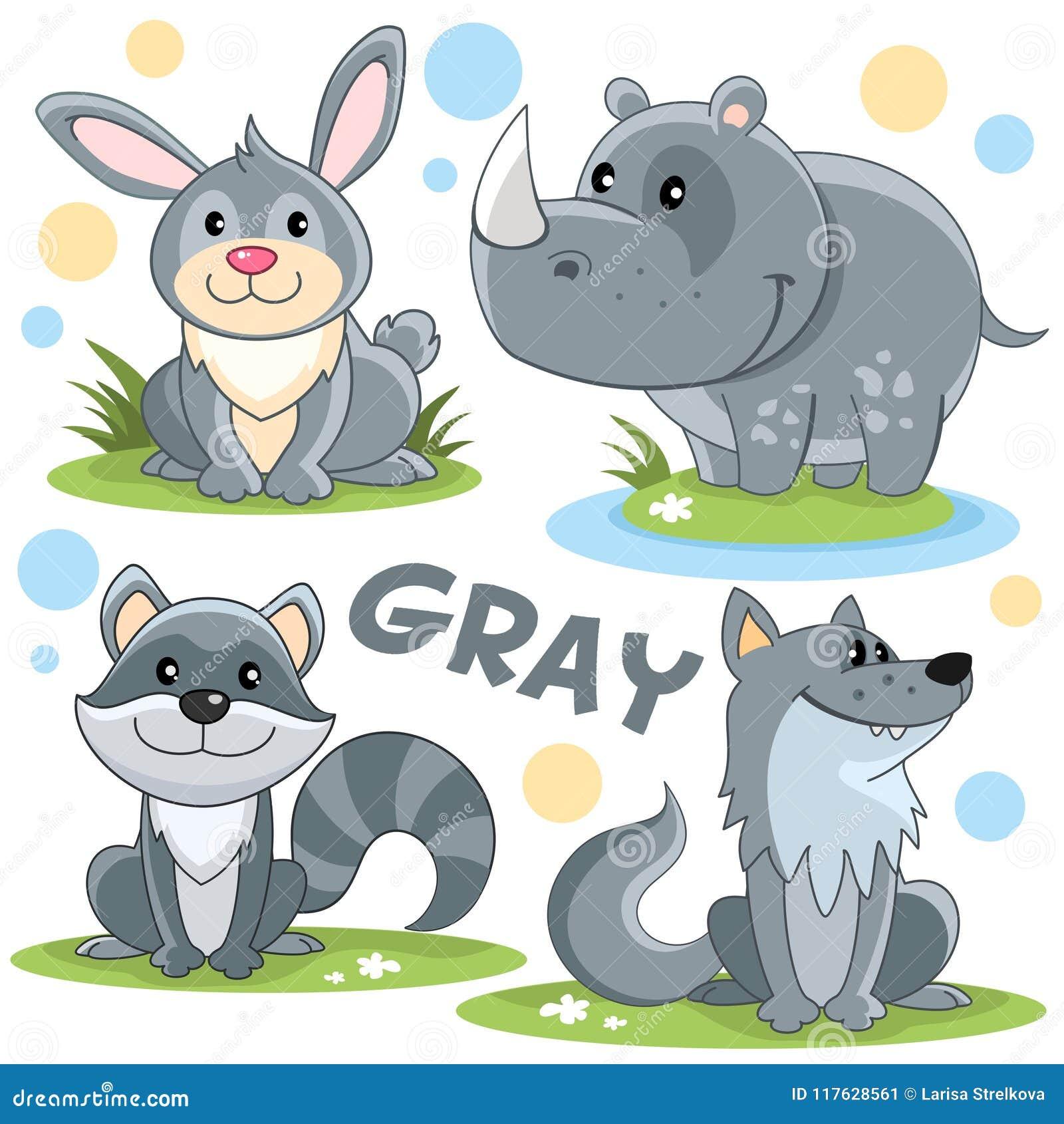 Animales Salvajes Del Color Gris Ilustración del Vector ...