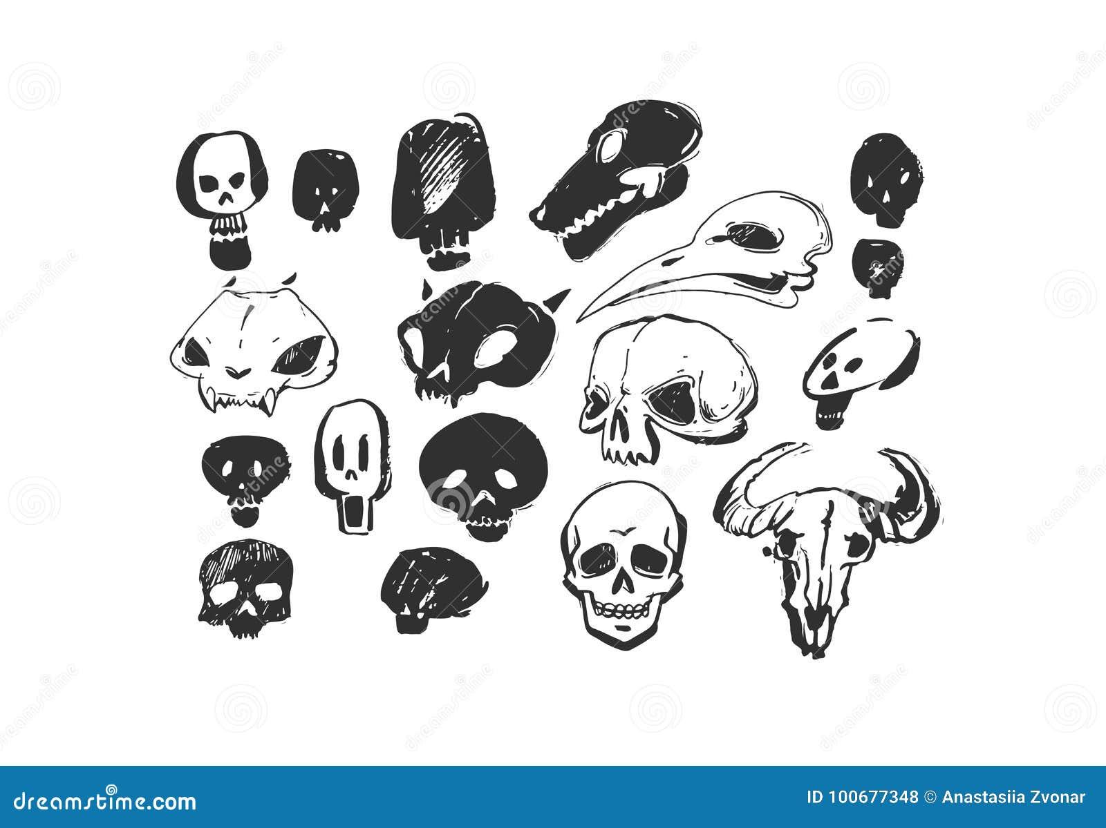 Animales texturizados a pulso artísticos dibujados mano de los elementos del diseño de Halloween de la tinta del extracto del vec