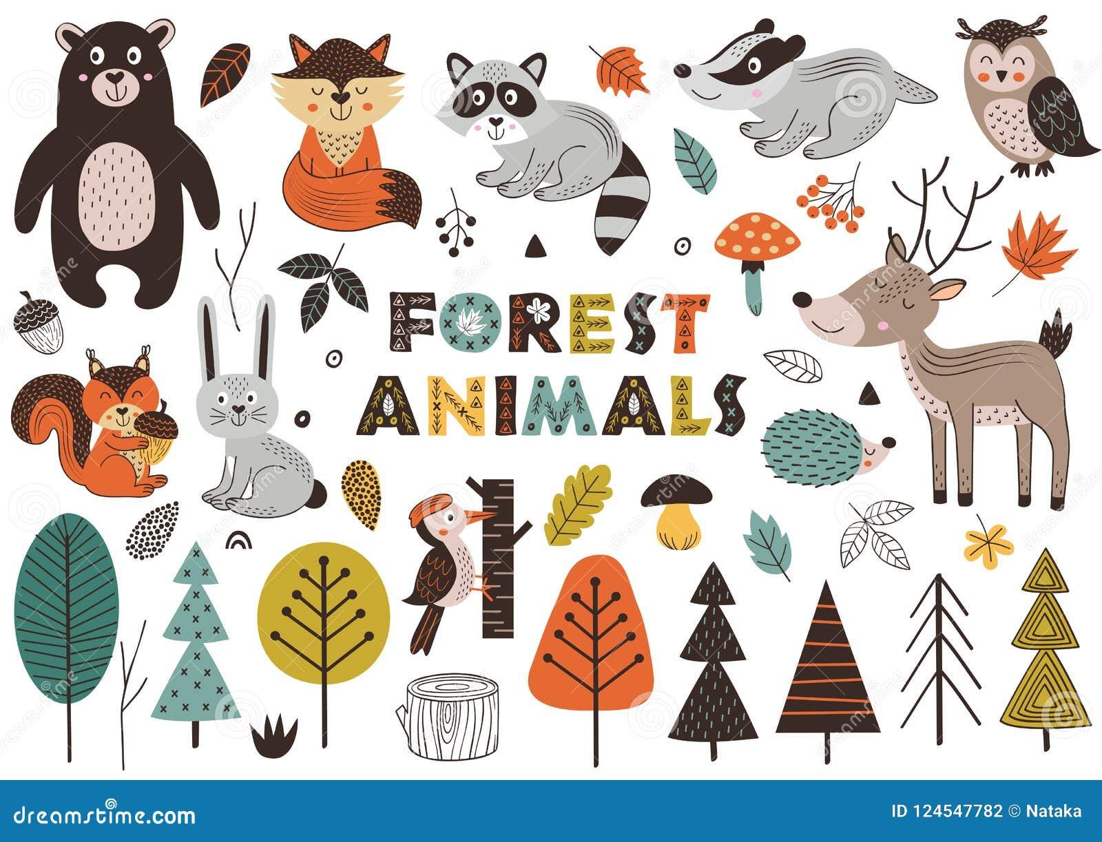 Animales y plantas del bosque en estilo escandinavo