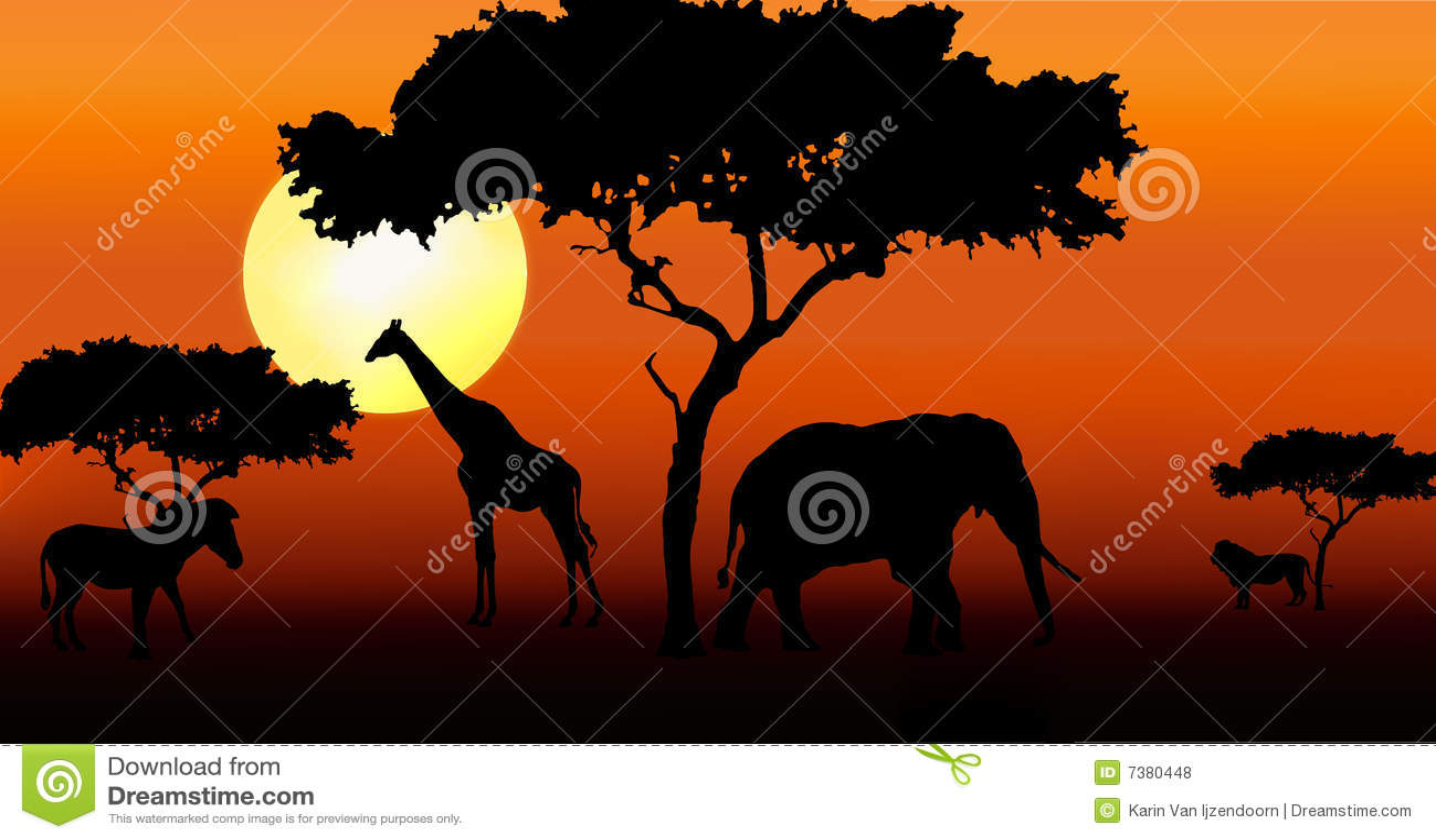 Animali africani nel tramonto