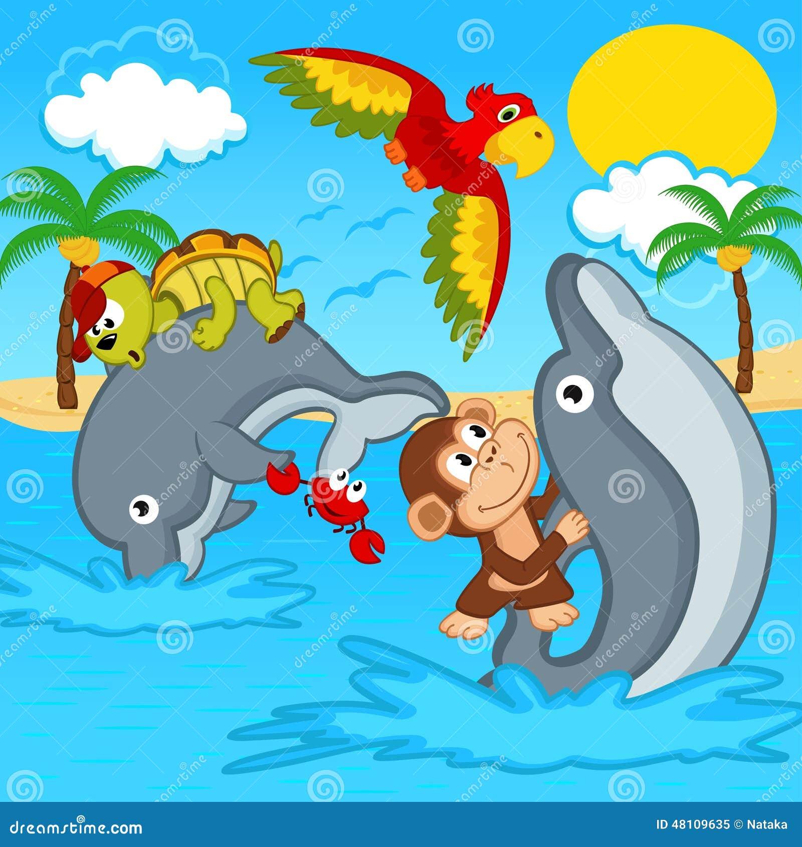 Animali che guidano sui delfini