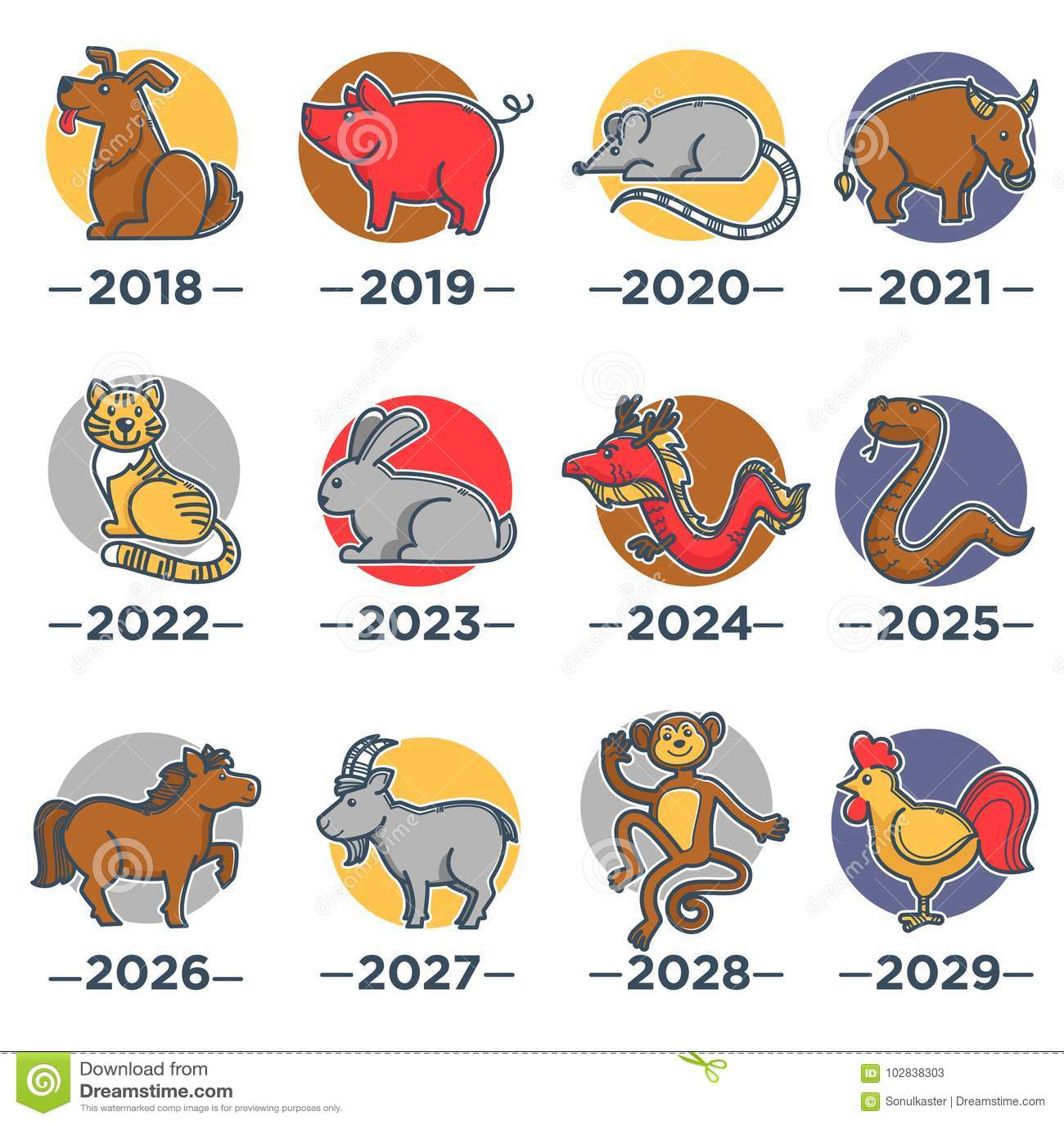 Calendario Giapponese Animali.Animali Che Simbolizzano Gli Anni Dal Calendario Cinese Dell