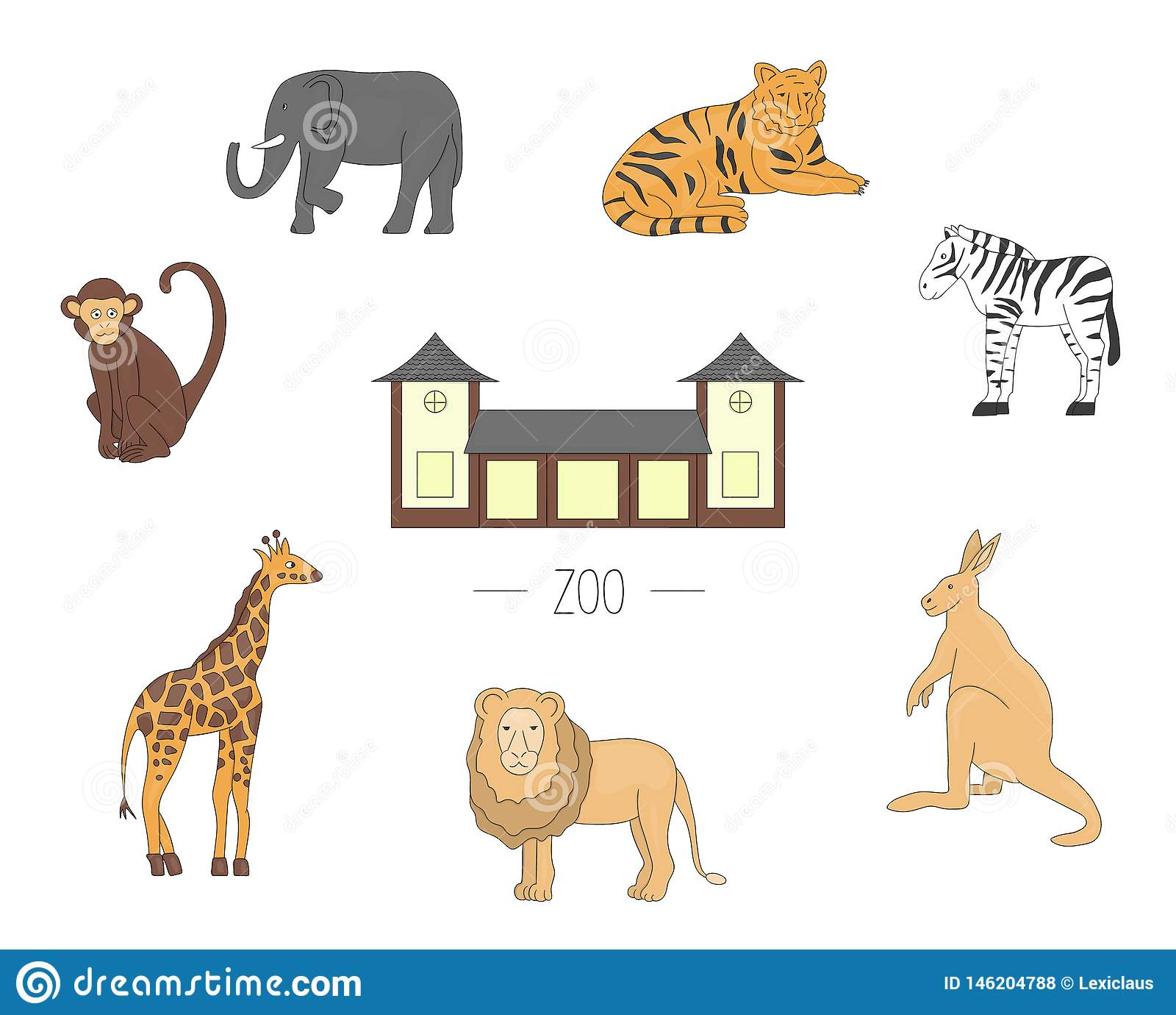 Animali dello zoo dell illustrazione di vettore isolati su fondo bianco