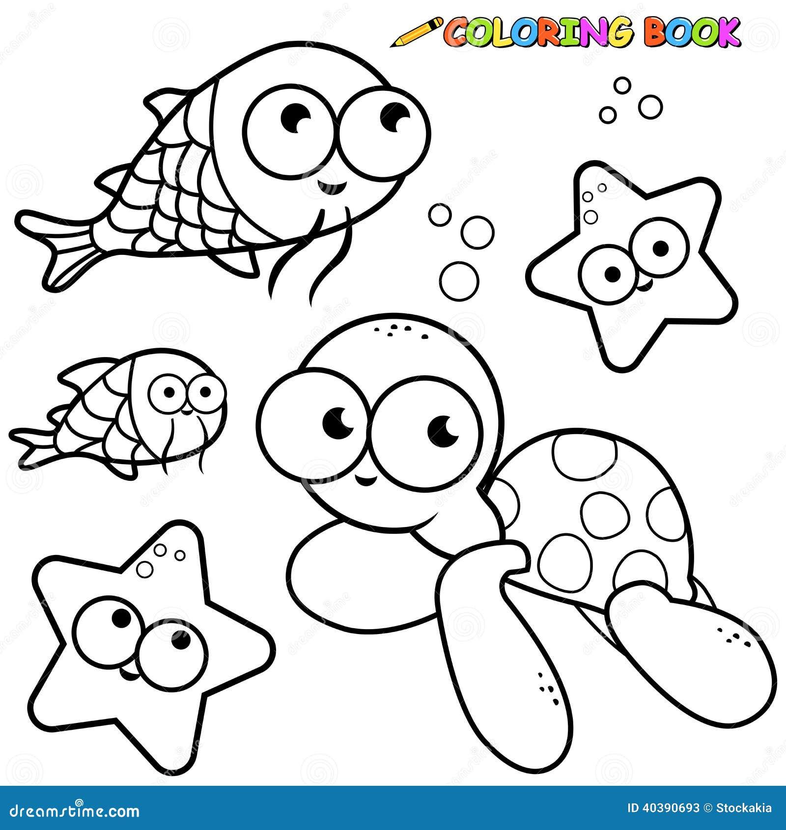 Animali di mare del libro da colorare messi illustrazione - Clip art animali marini ...