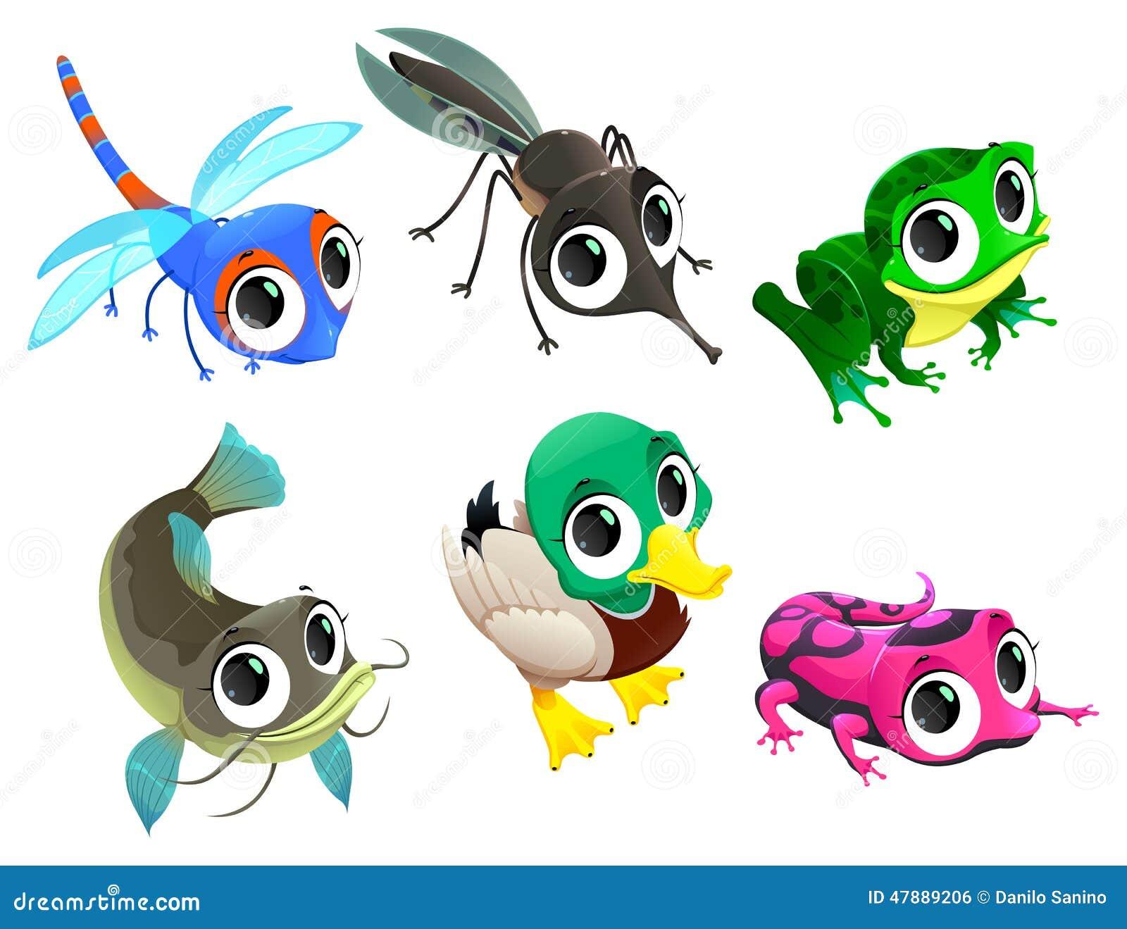Animali divertenti dello stagno illustrazione vettoriale for Gli animali dello stagno