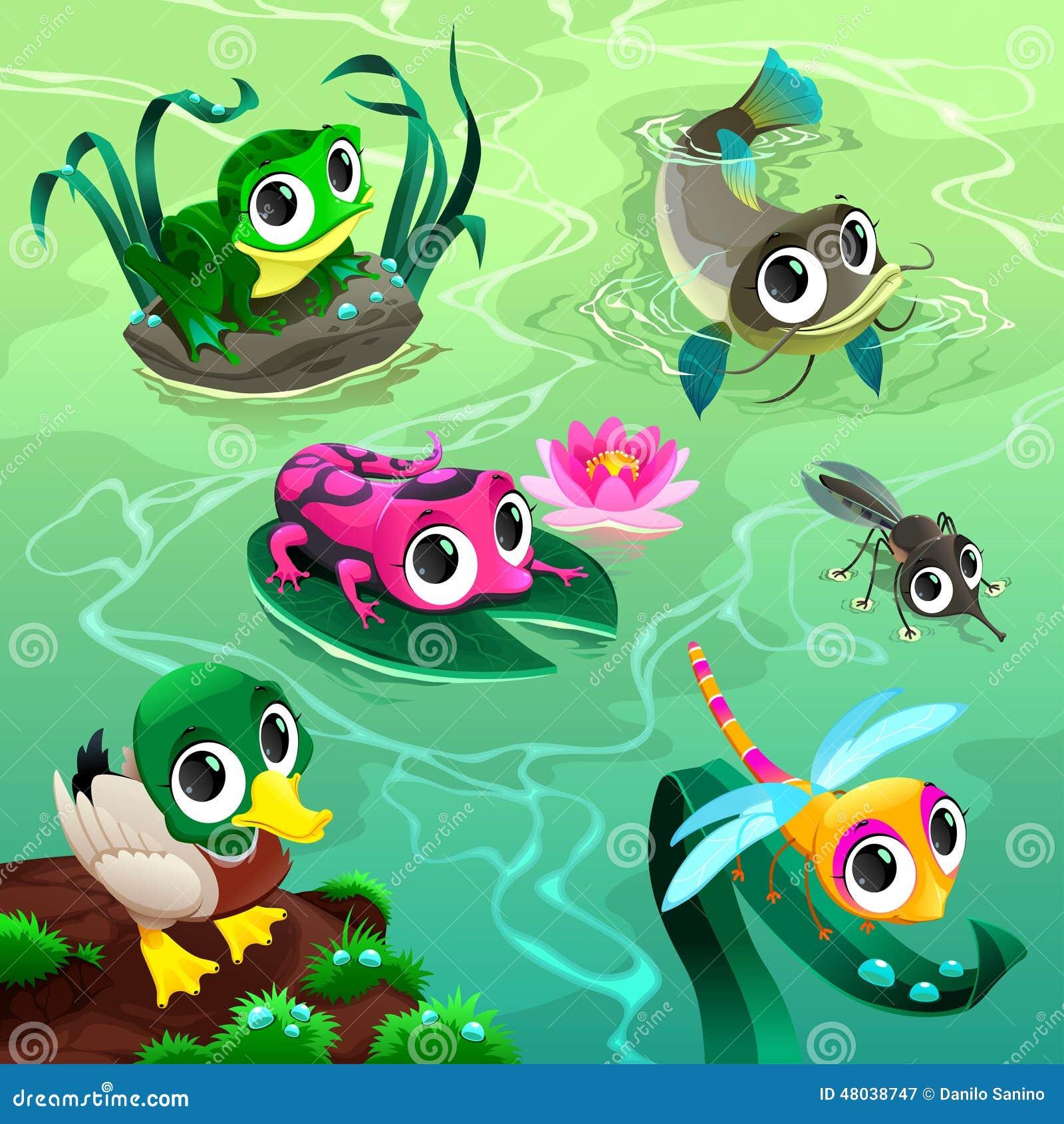 Animali divertenti nello stagno illustrazione vettoriale for Gli animali dello stagno