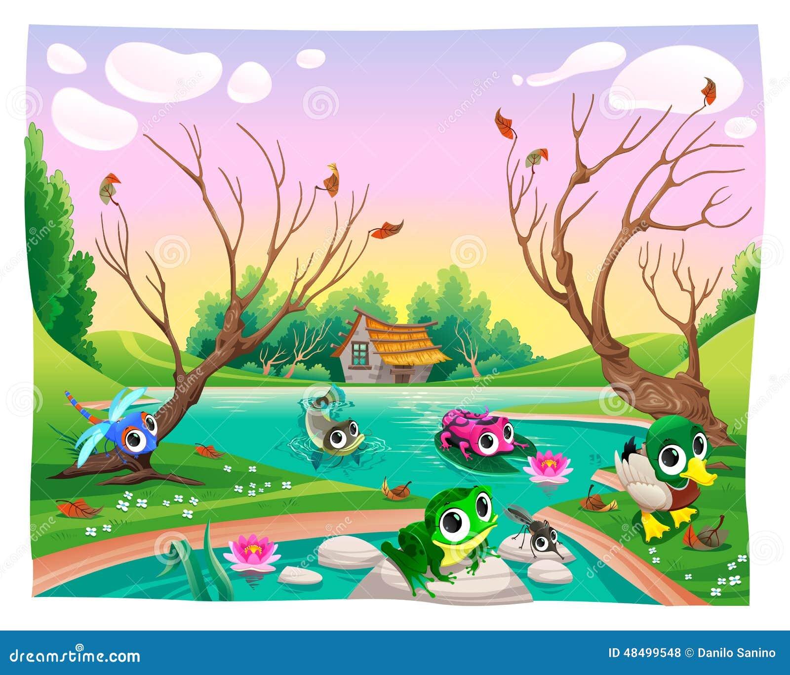animali divertenti nello stagno illustrazione vettoriale