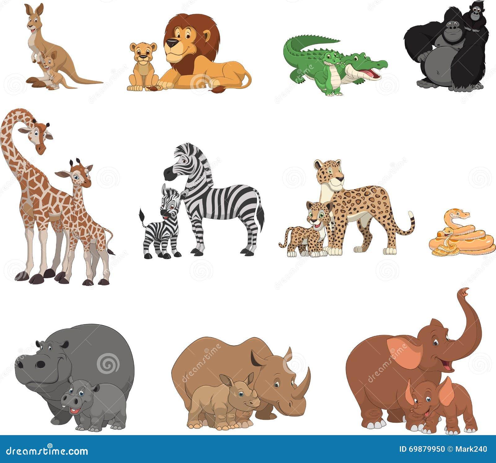 Animali e genitori divertenti dei bambini illustrazione - Animali terrestri per bambini ...