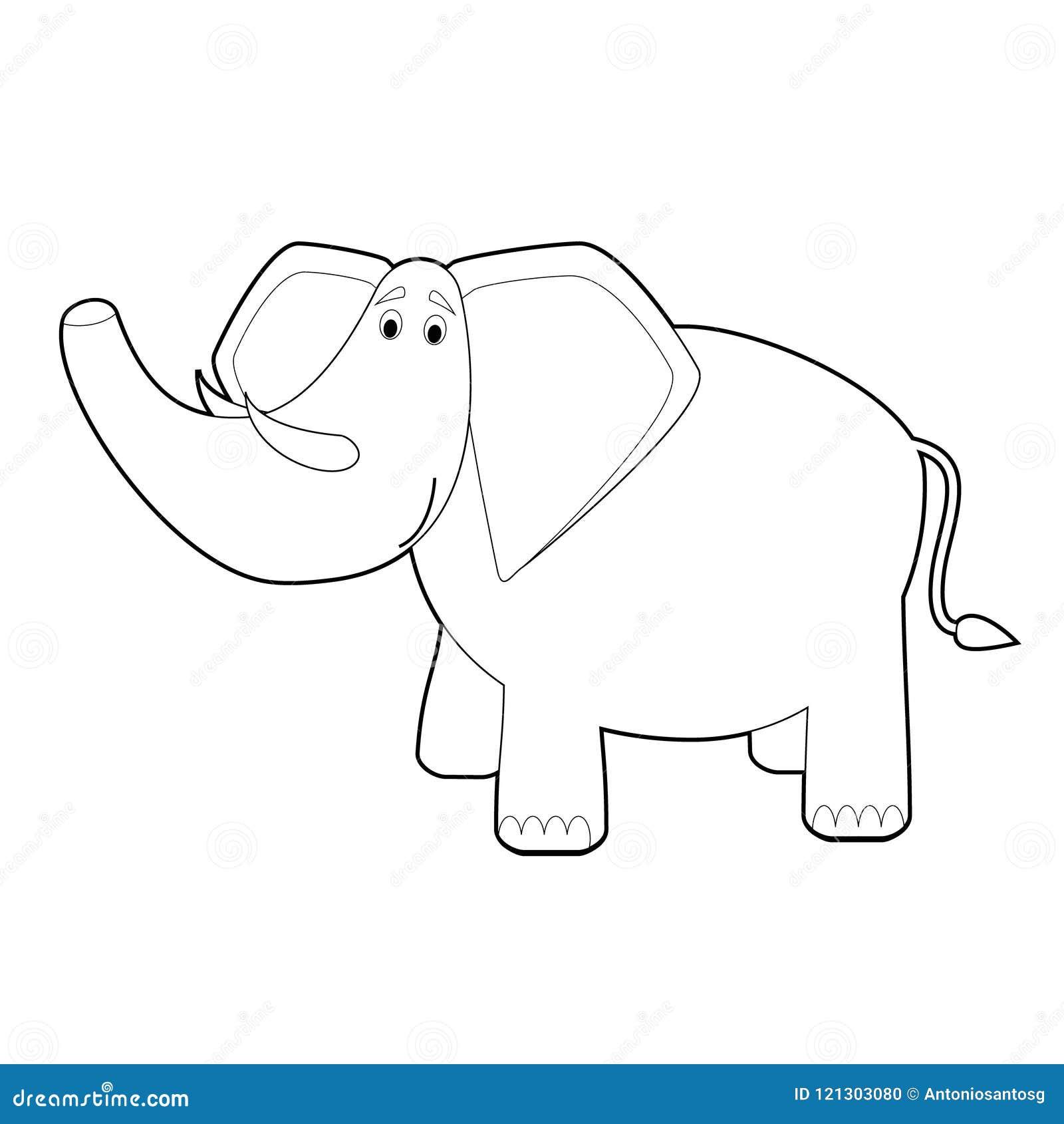 Animali Facili Di Coloritura Per I Bambini Elefante Illustrazione