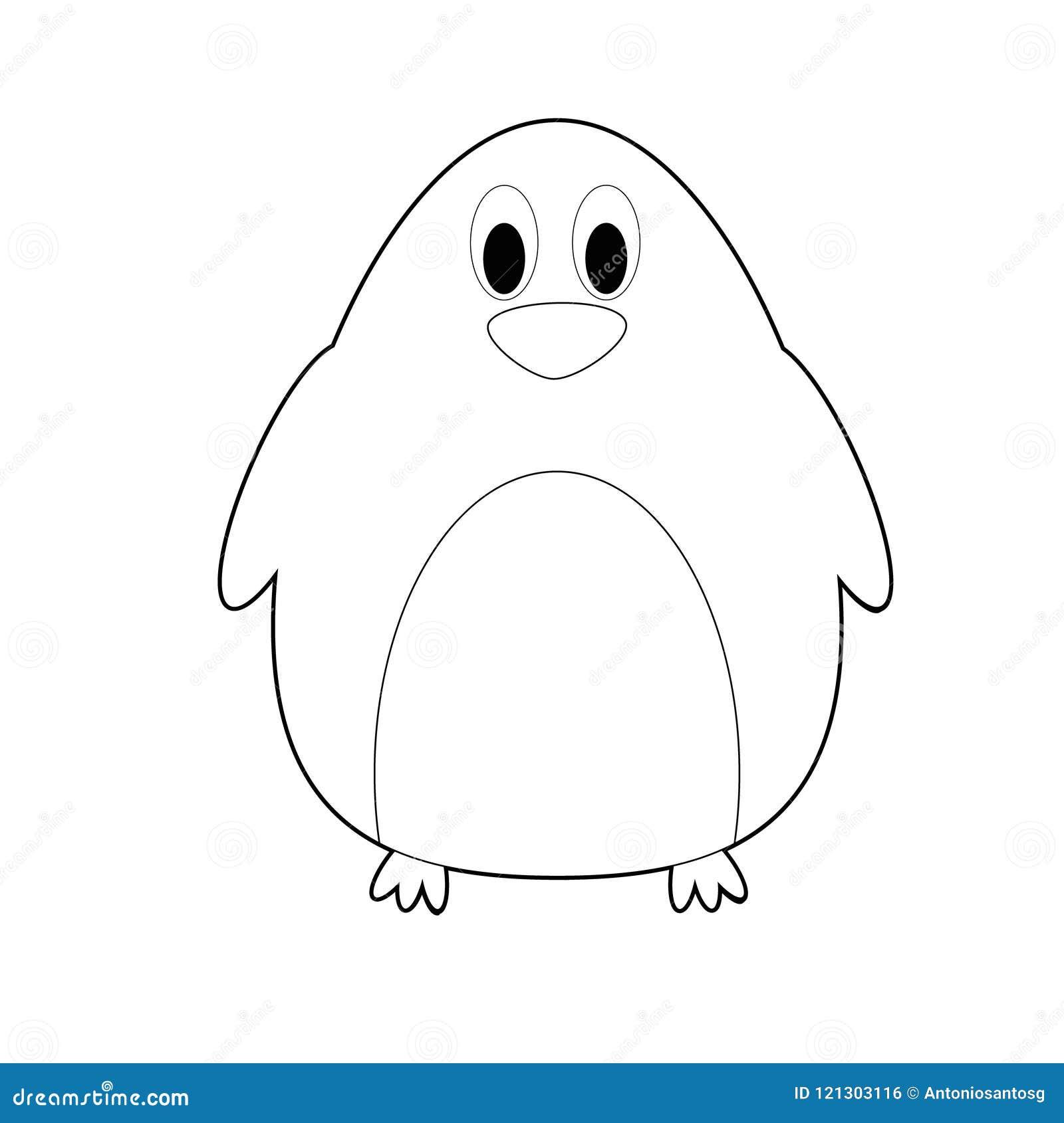 Animali Facili Di Coloritura Per I Bambini Pinguino Illustrazione
