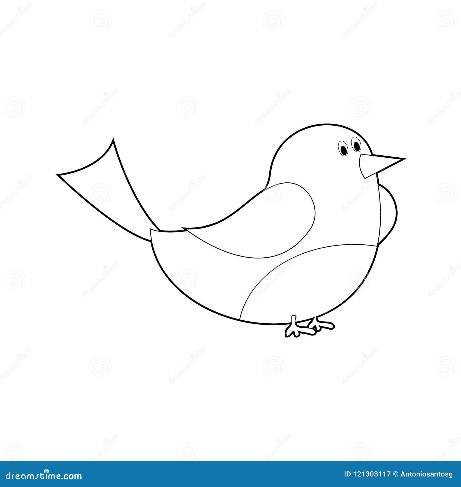 Animali Facili Di Coloritura Per I Bambini Uccello Illustrazione