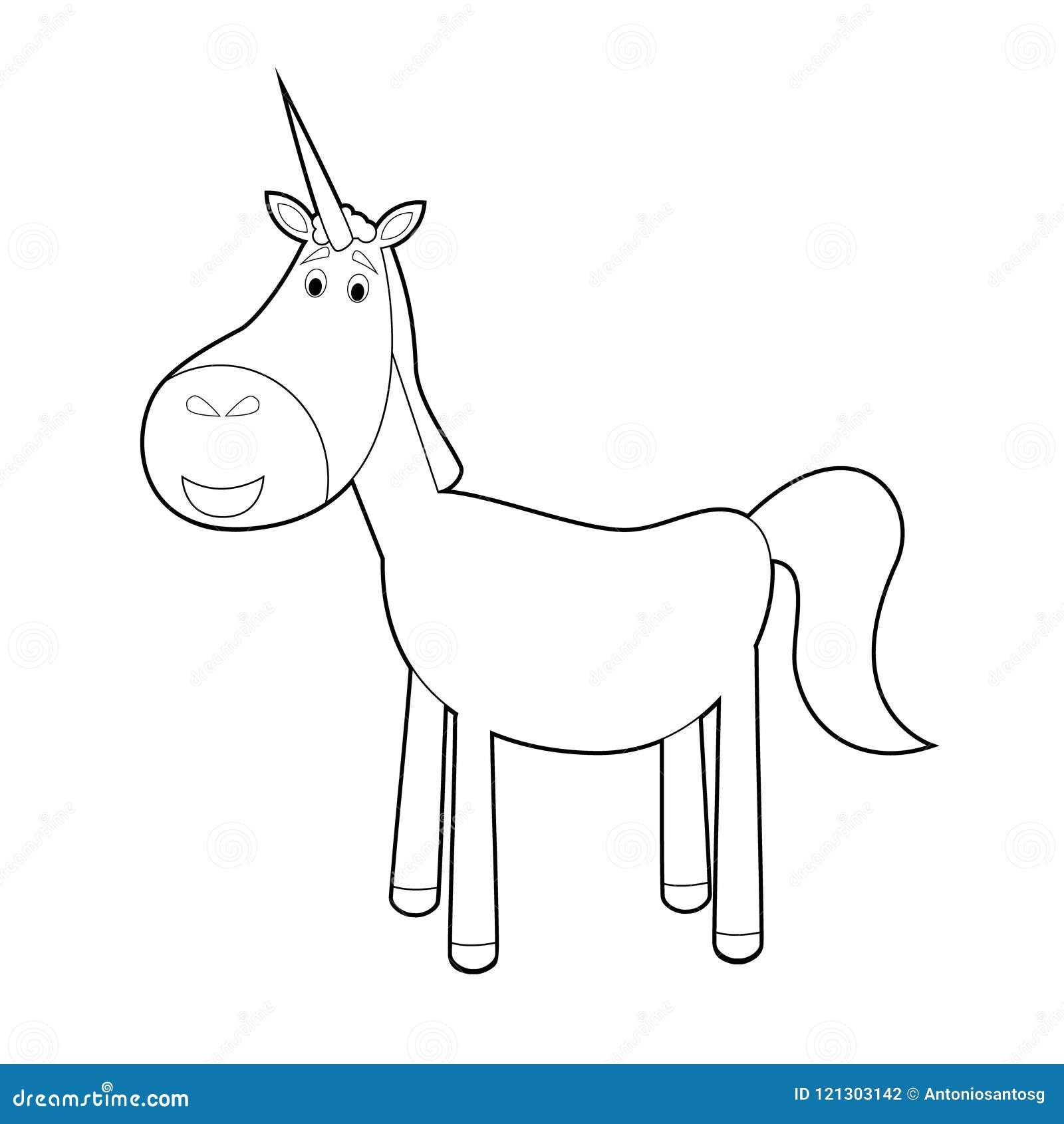 Animali Facili Di Coloritura Per I Bambini Unicorno Illustrazione