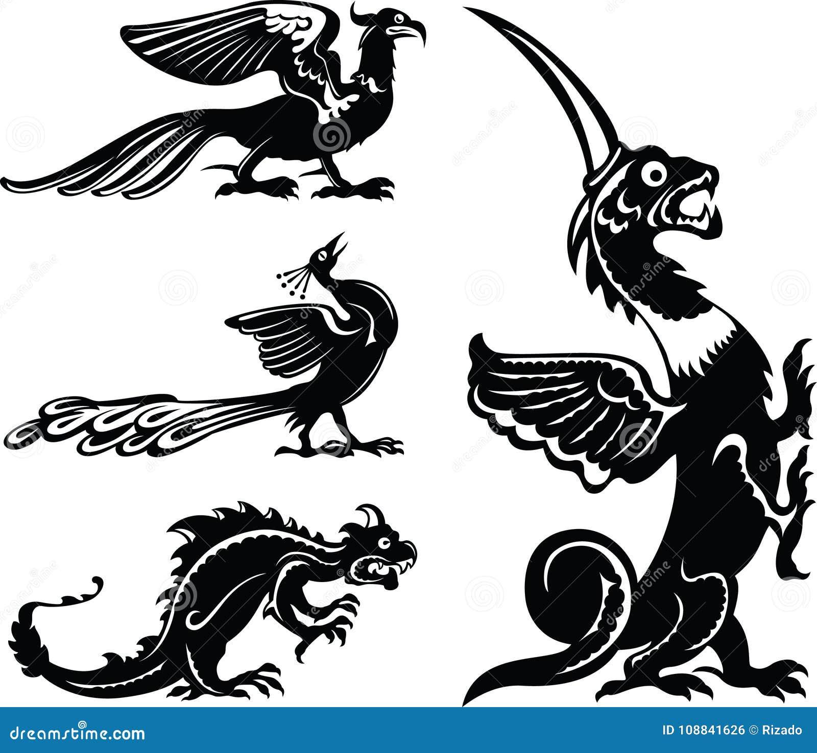 Animali Fantastici Uccelli Leggiadramente E Draghi Illustrazione