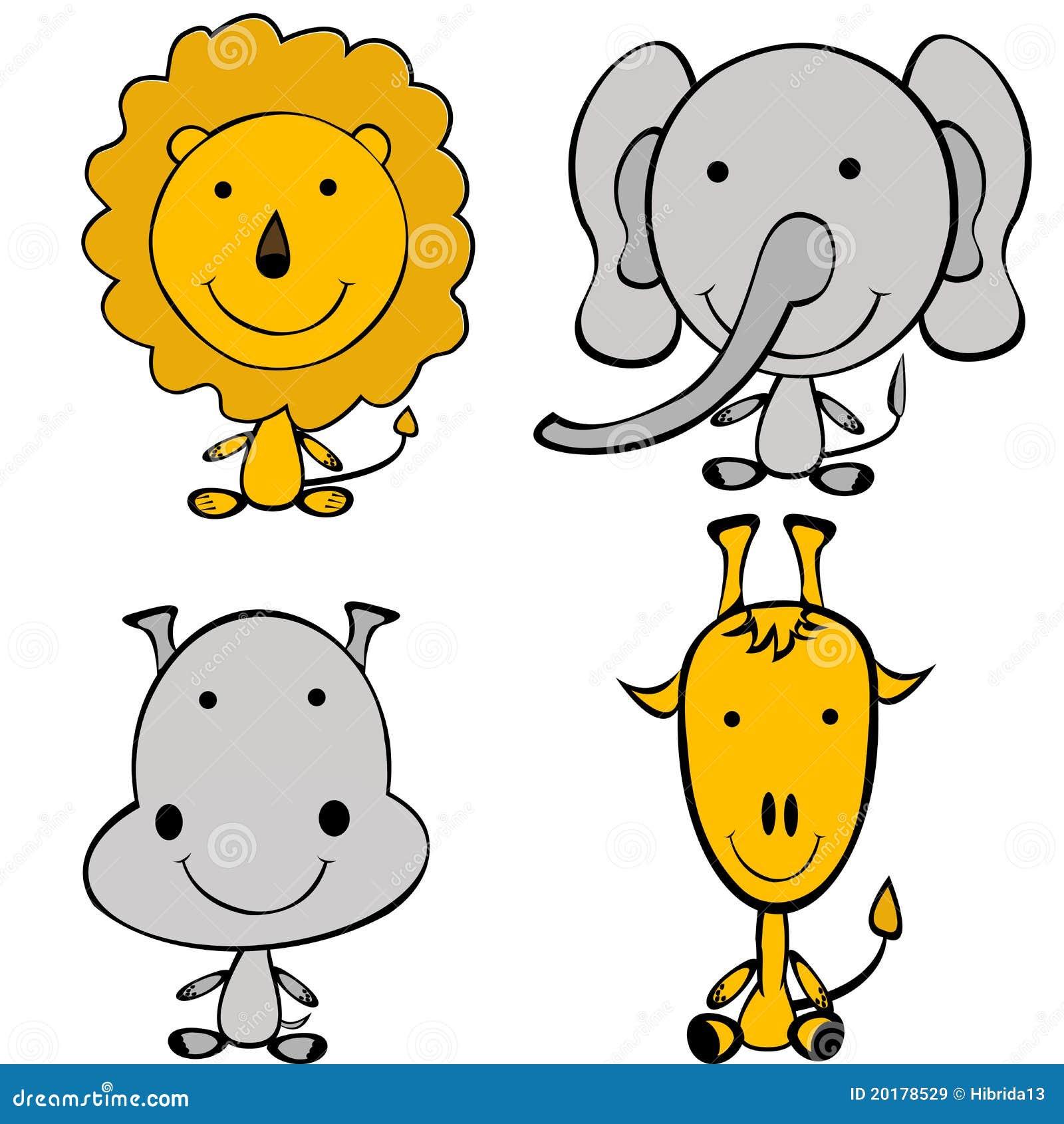 Animali stilizzati della giungla di doodle immagini stock for Immagini giraffa per bambini