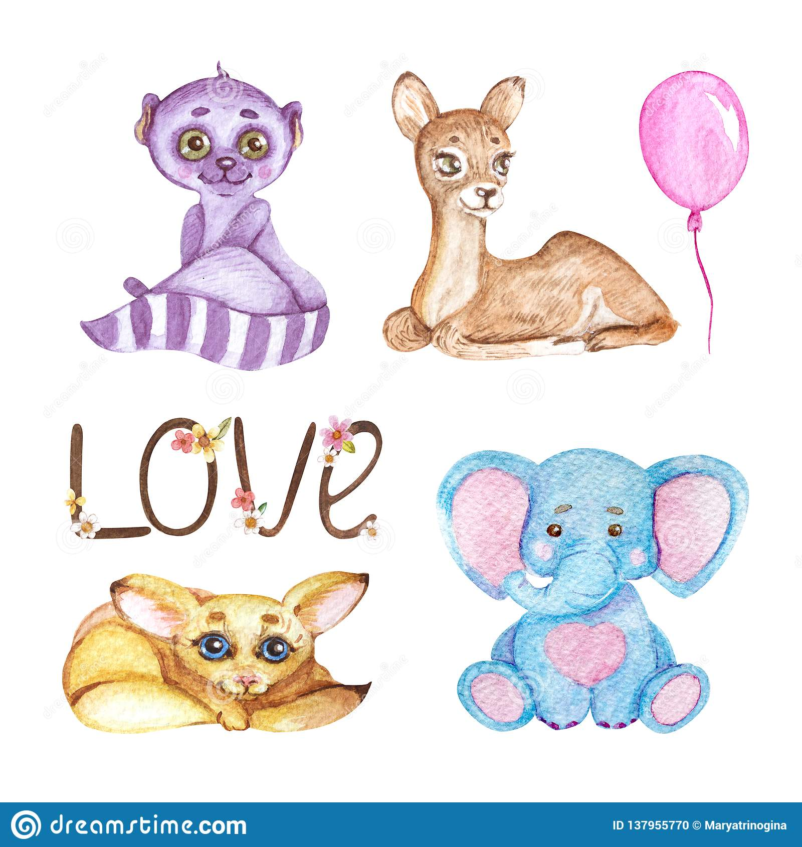 Animali svegli dell acquerello Illustrazione per i bambini