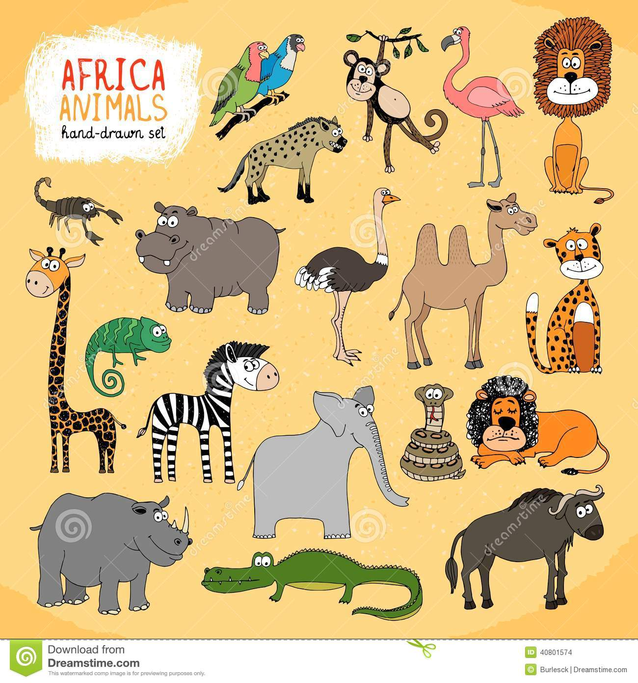 Animals Of Africa Hand drawn Illustration Stock Vector