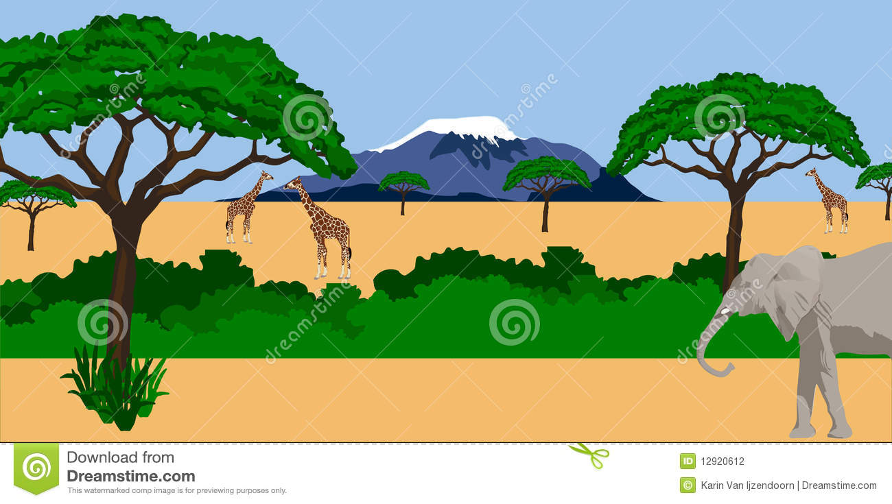 Animals in african scenery