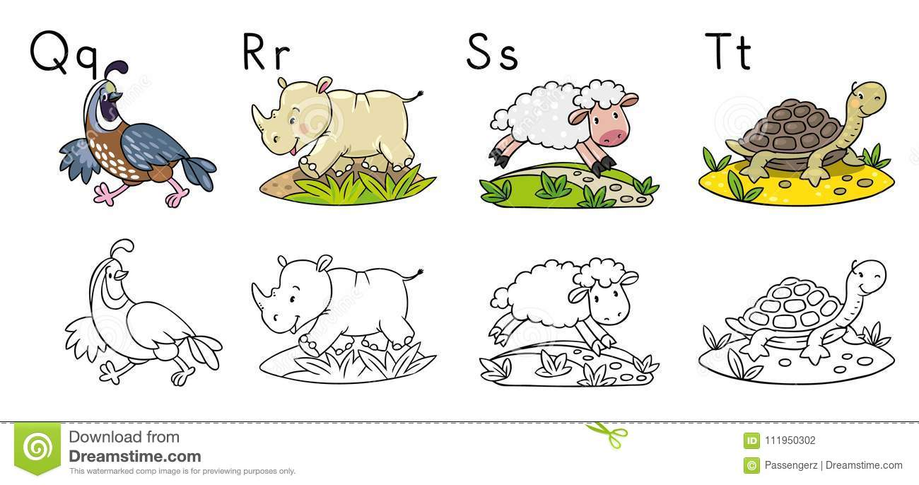 Download Animals Alphabet Or ABC Coloring Book Stock Vector