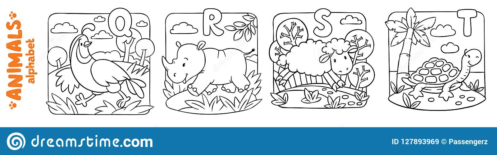 Animals Alphabet Or ABC. Coloring Book Set Stock Vector ...