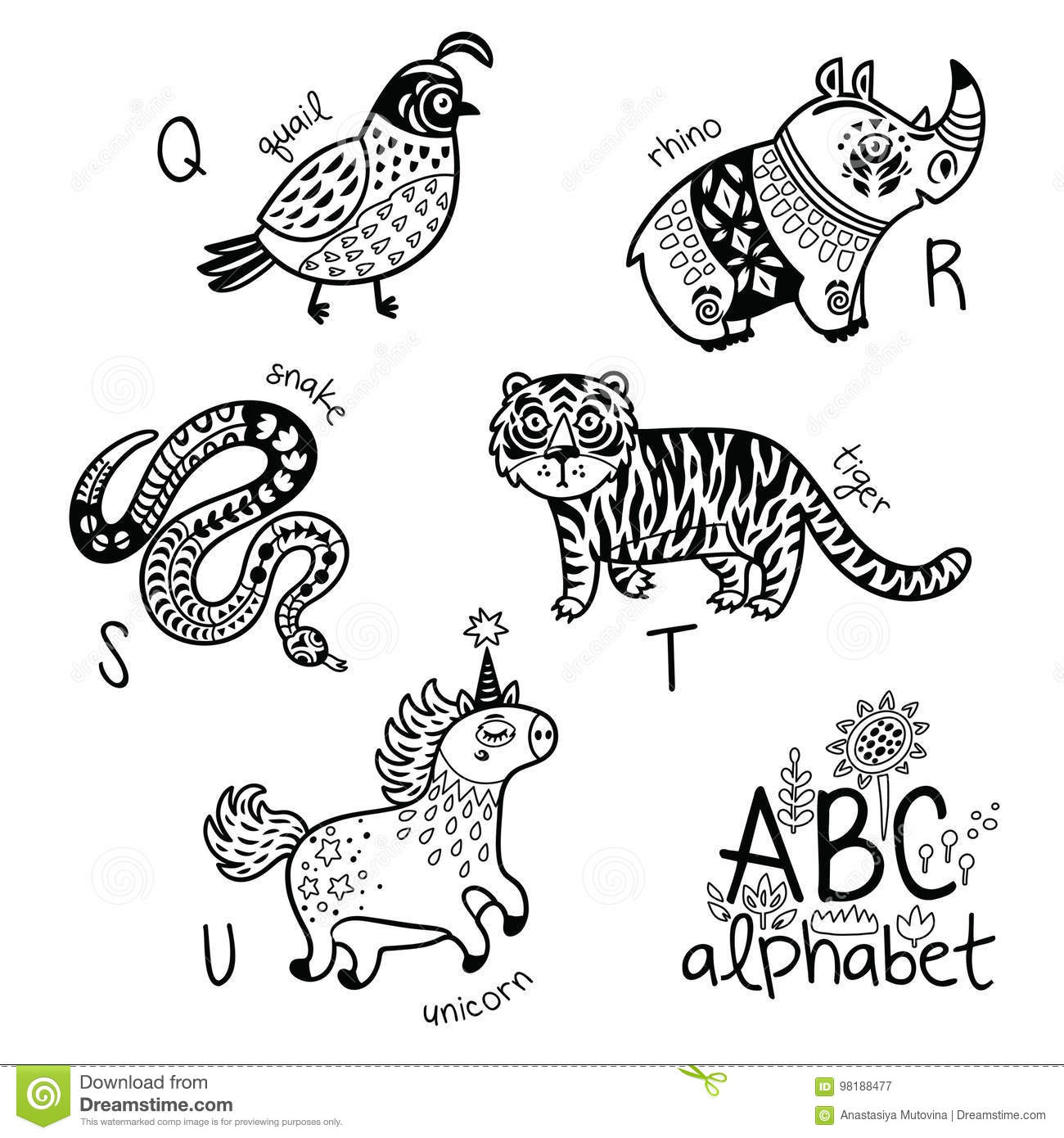 Animals Alphabet Q - U For Children. Vector Coloring Page Stock ...