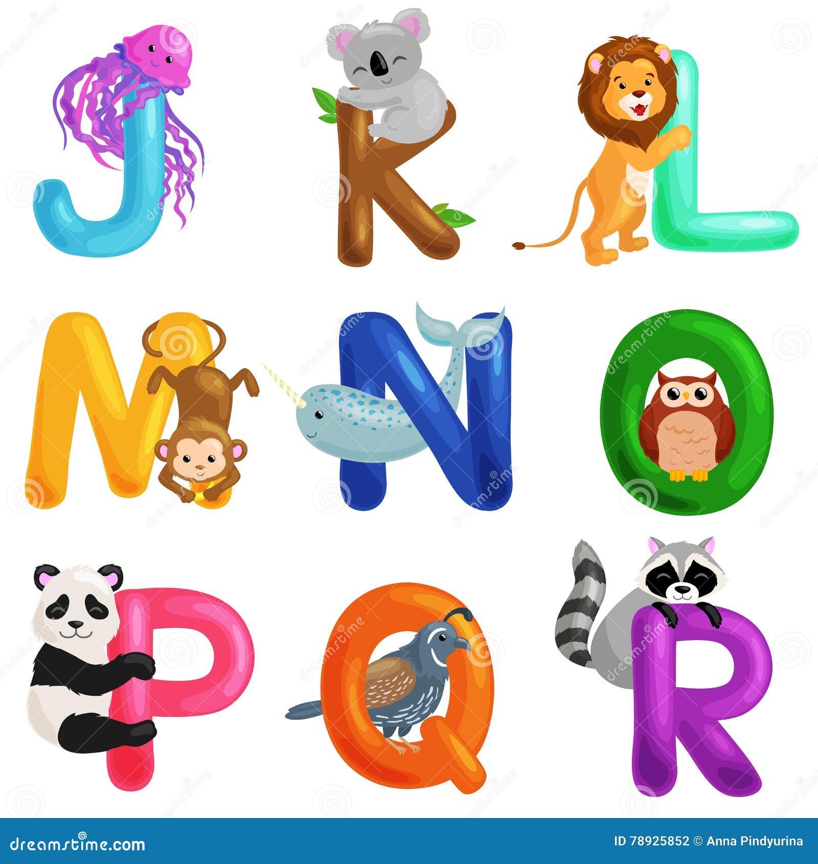 animals alphabet set for kids abc education in preschool stock