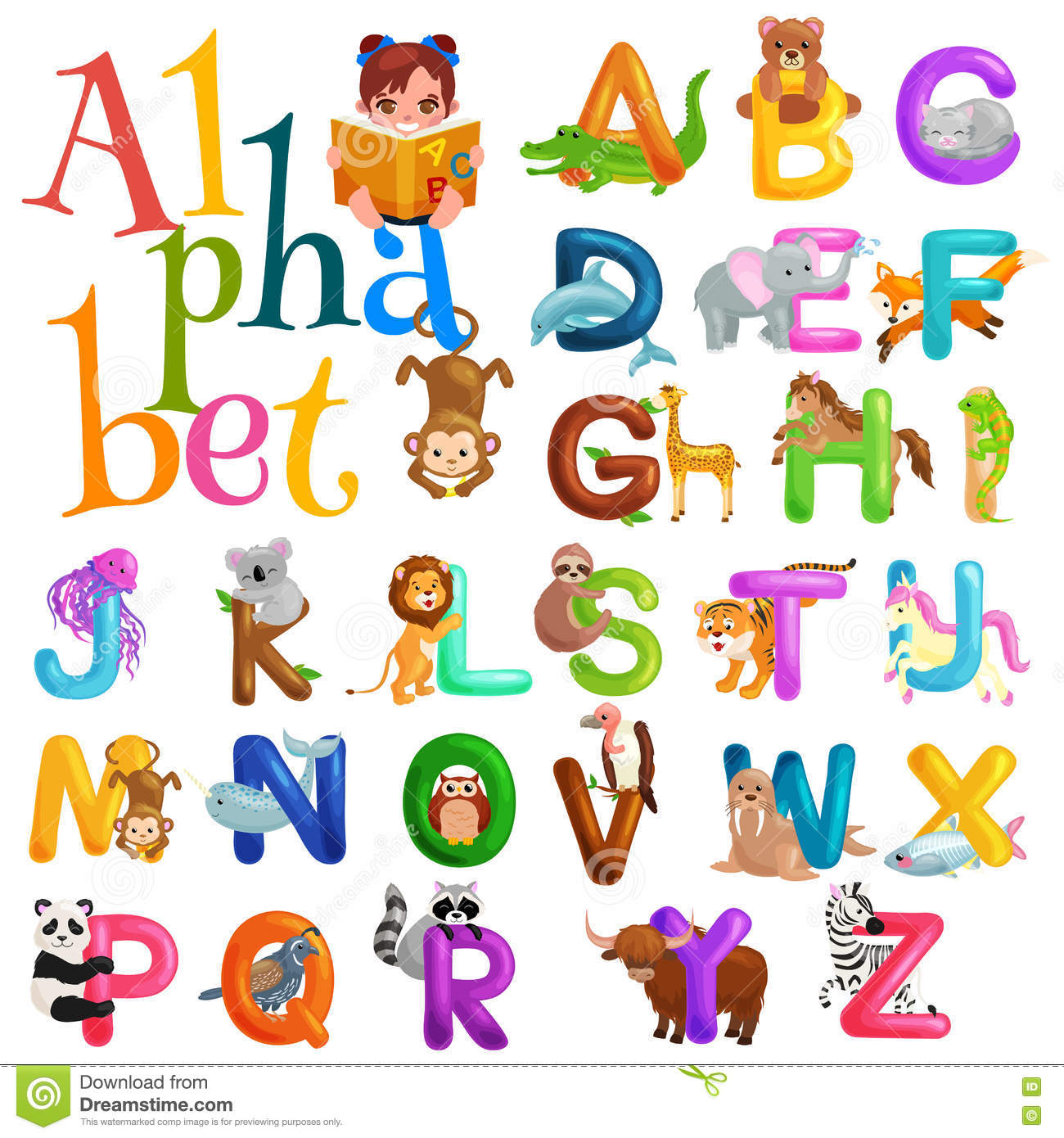 Preschool letters - Animals Alphabet Set For Kids Abc Education In Preschool Royalty Free Stock Images