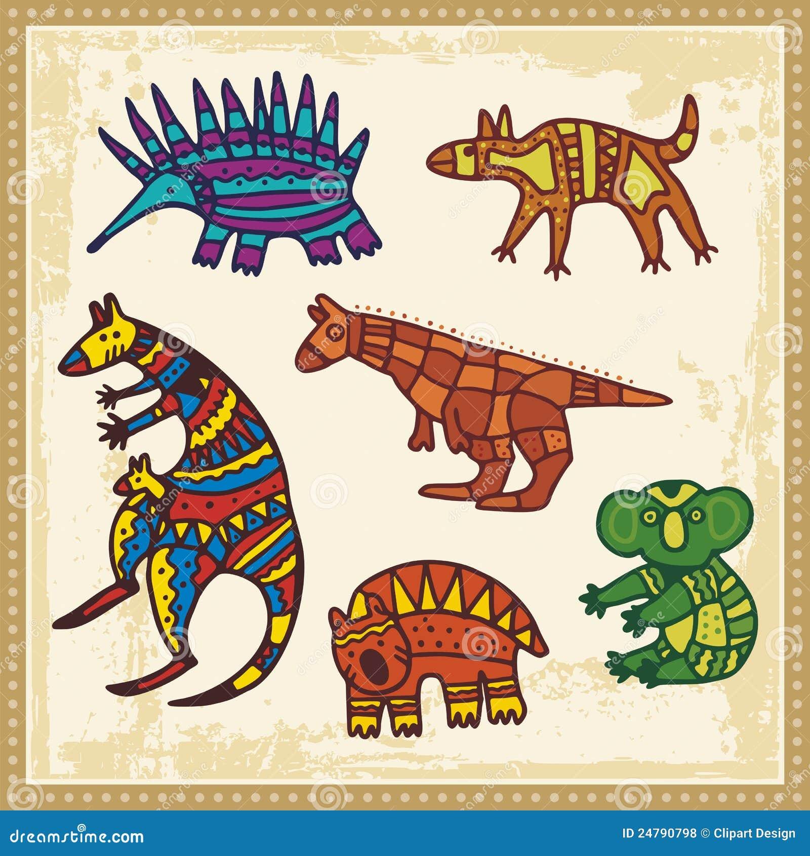 Animals In Australian Aboriginal Style Royalty Free Stock Photos ...