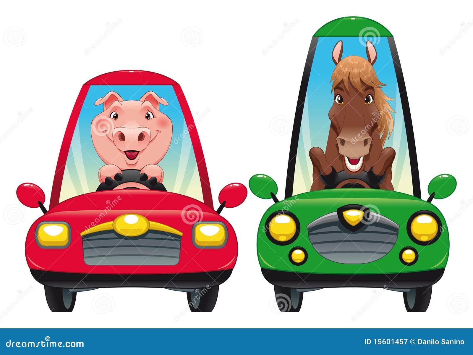 Elephant Driving A Car Clipart