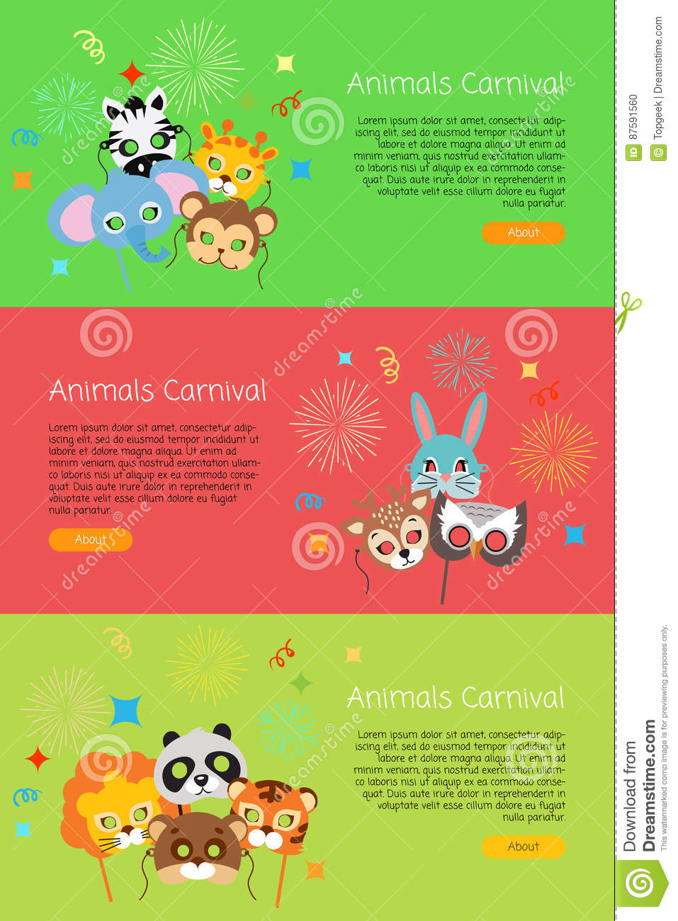 e89eb4477 Animals carnival collection of masks for kids. Exotic zebra with elephant.  Cute monkey and cat with friendly owl near lion and panda. Colourful  decoration ...