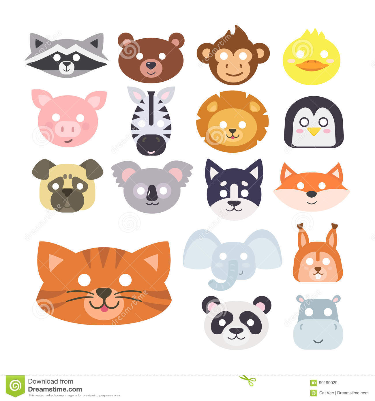 Animals carnival mask vector set festival decoration for Animals decoration