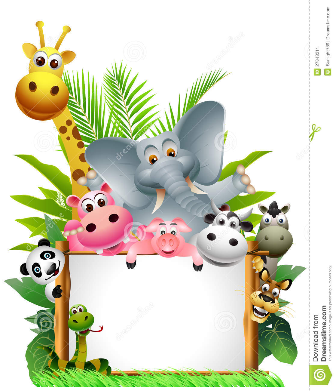 animals cartoon with blank sign stock image   image 27048211