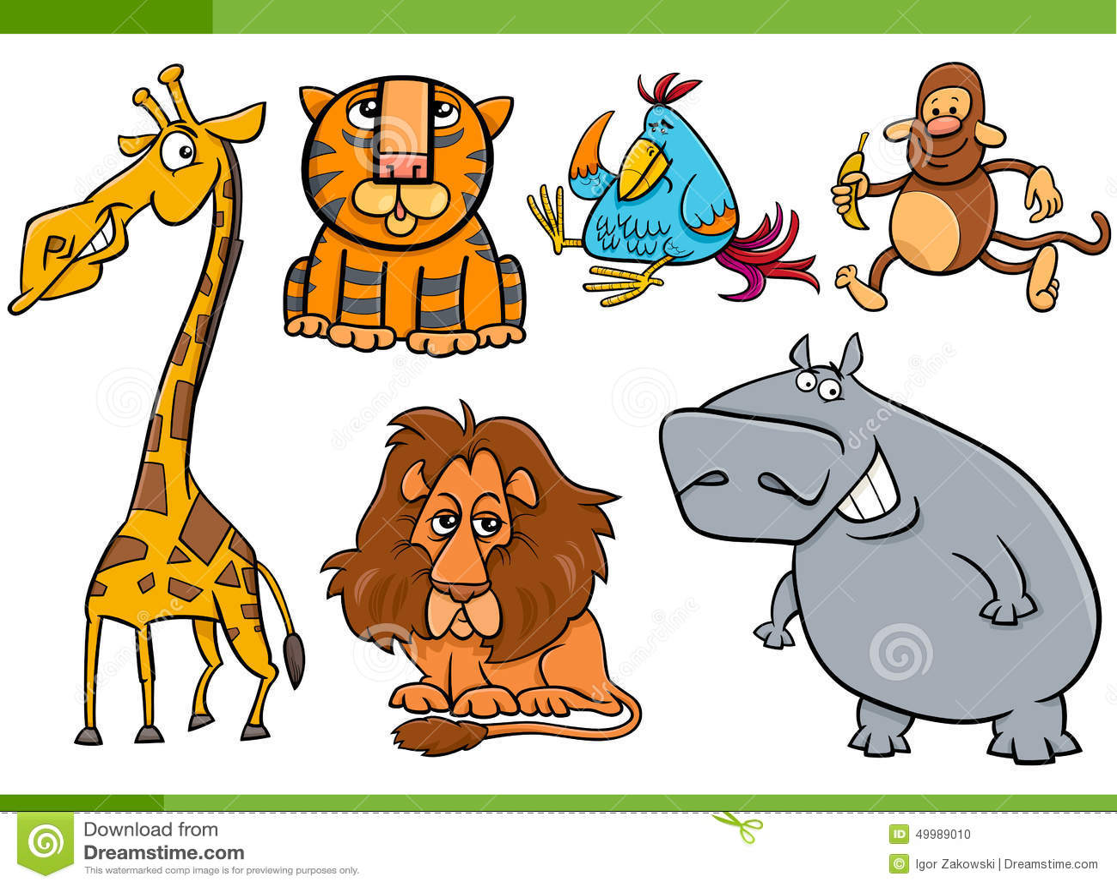 animals cartoon characters set stock vector image 49989010. Black Bedroom Furniture Sets. Home Design Ideas