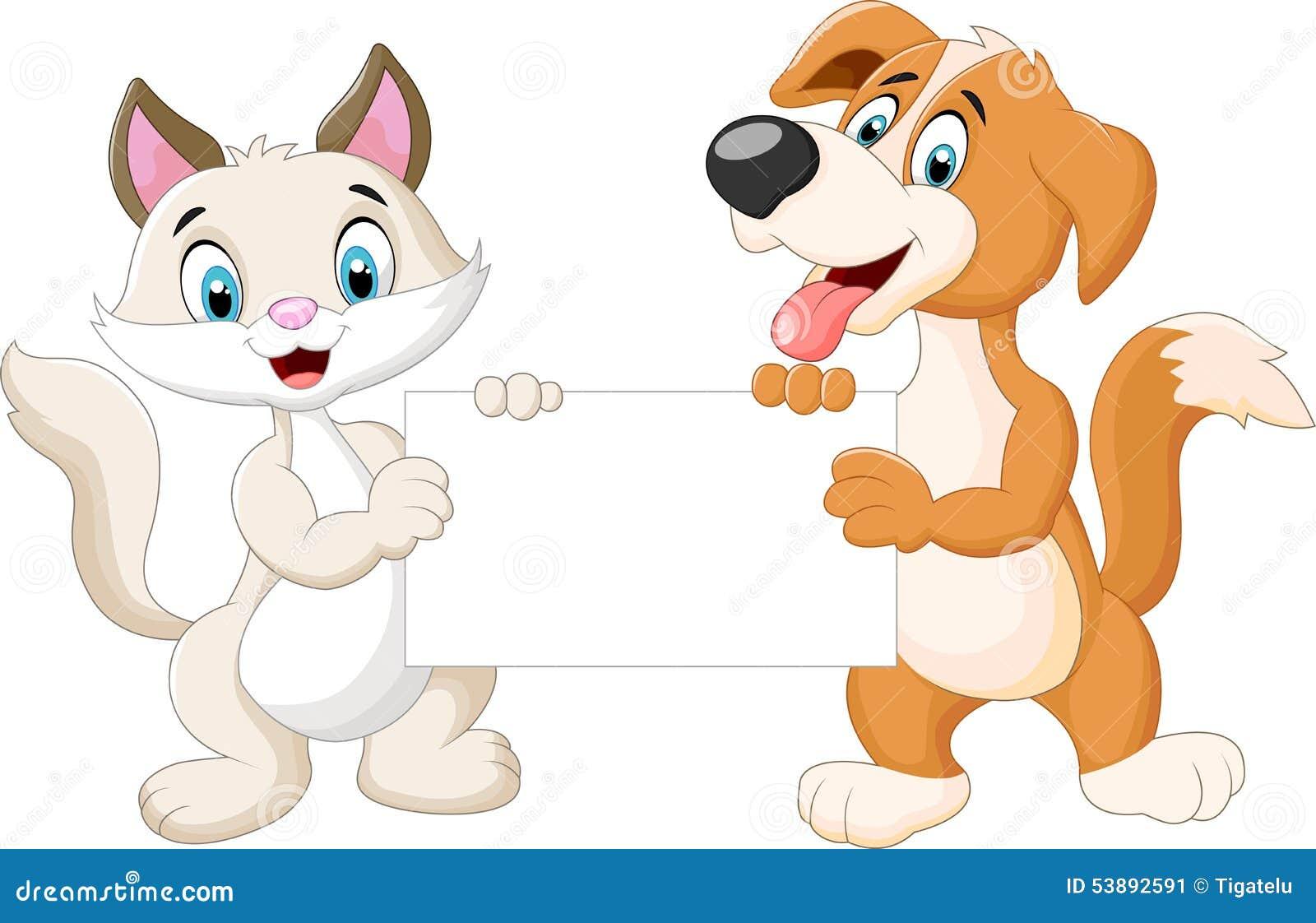 Animals Cartoon Holding Blank Sign Stock Vector