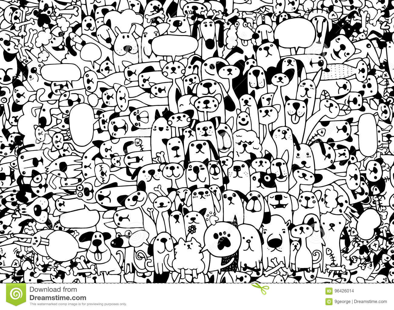 Animals Cats And Dogs Vector Pattern Hand Drawn Doodles Pets